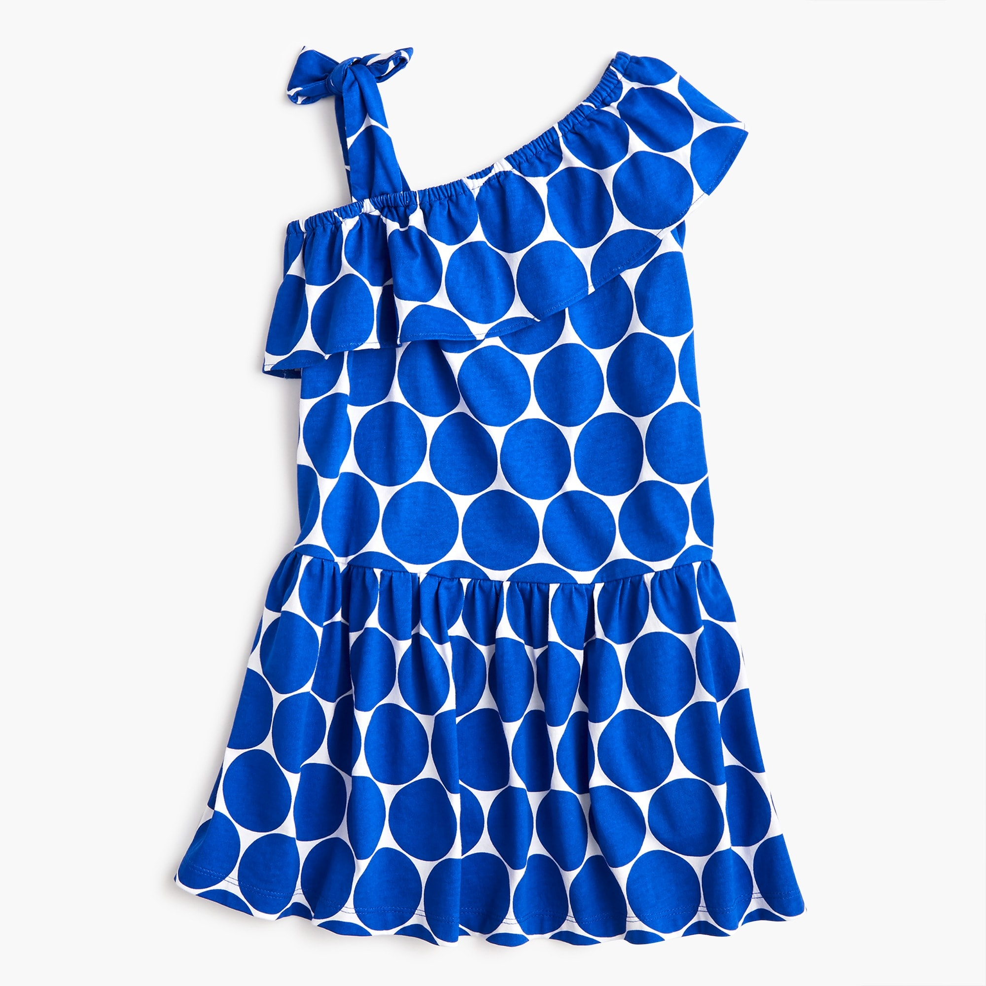 Girls' asymmetrical dress in dots girl new arrivals c