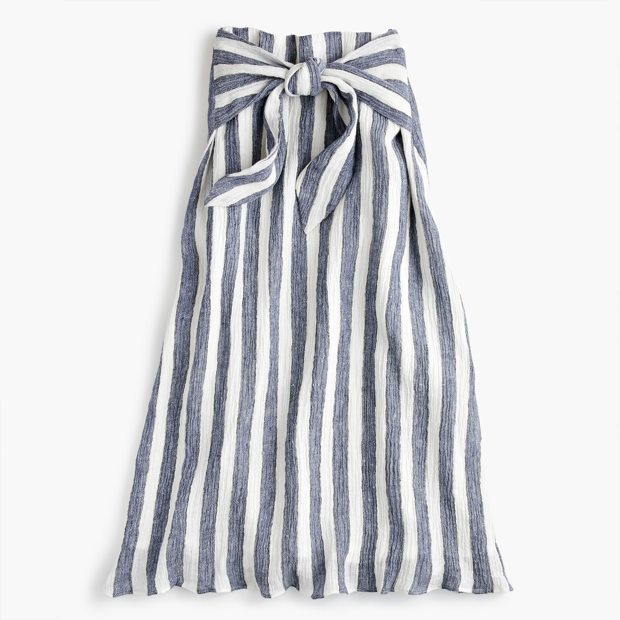 Image 5 for Point Sur tie-waist skirt in nautical striped linen