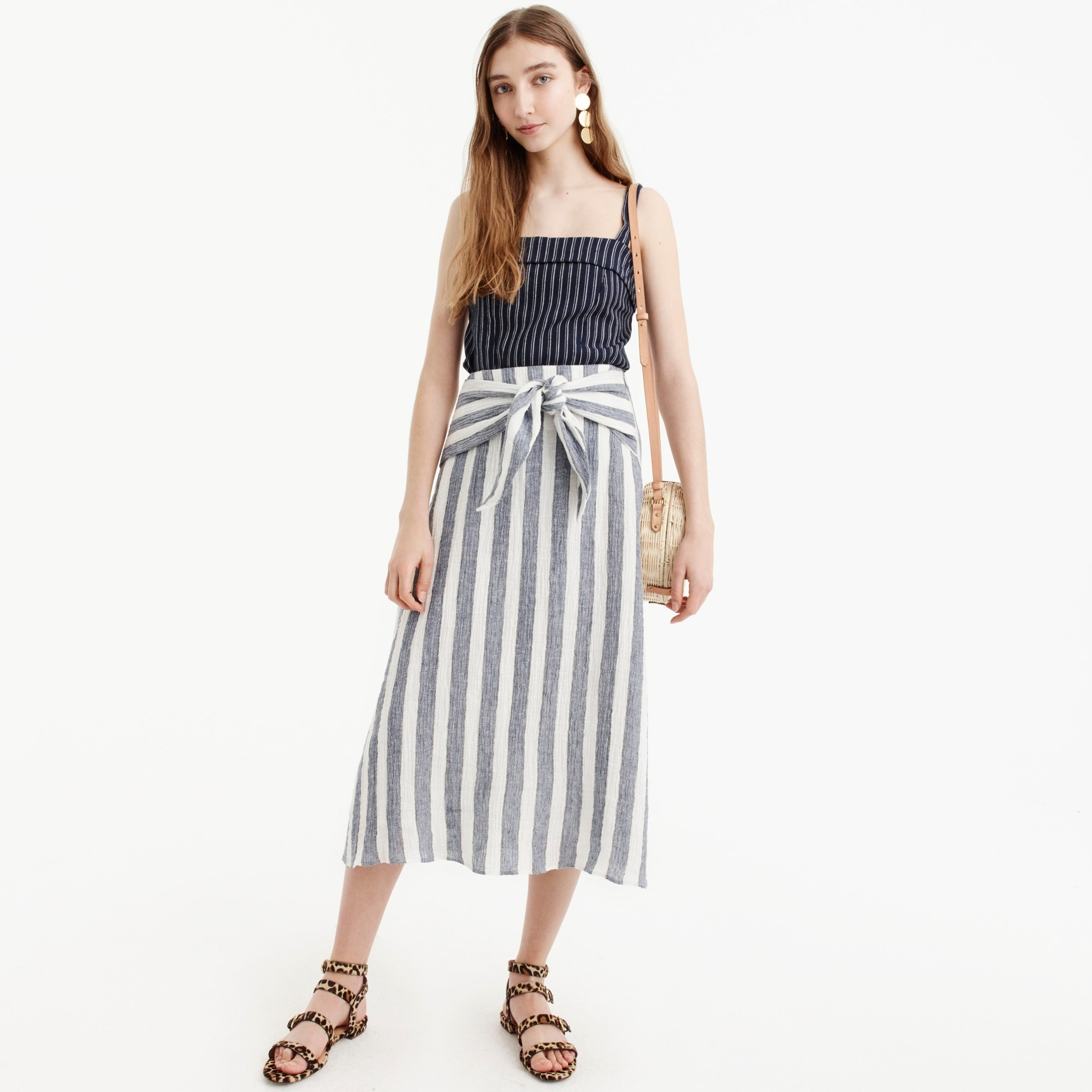 womens Point Sur tie-waist skirt in nautical striped linen
