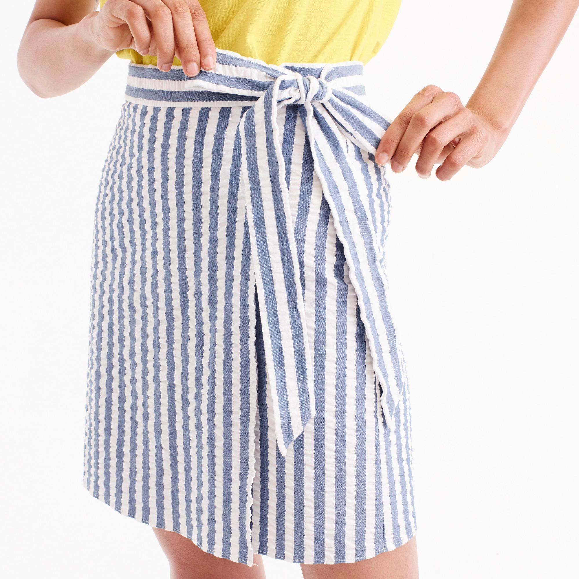 Textured wrap mini skirt in stripe