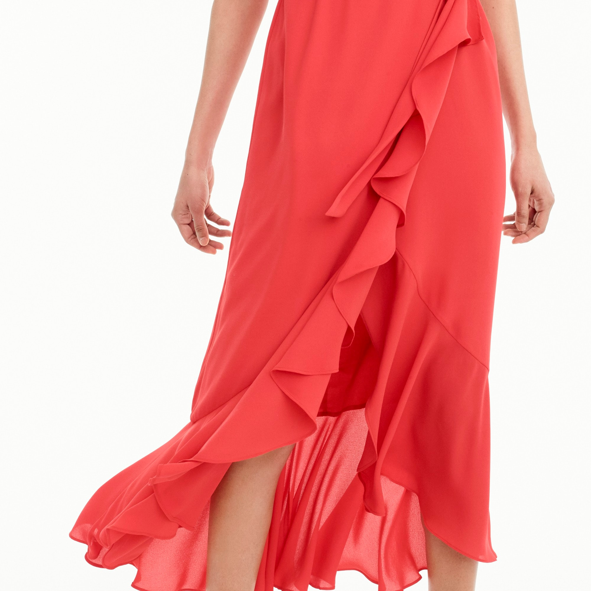 Drapey ruffle faux-wrap dress