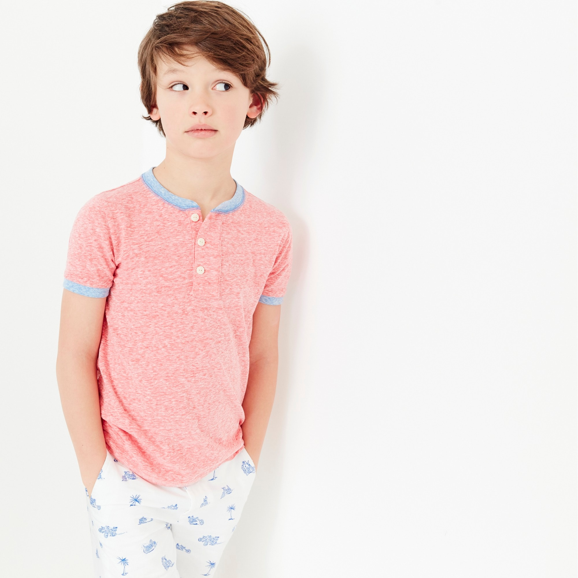 boys' short-sleeve ringer henley shirt - boys' tees