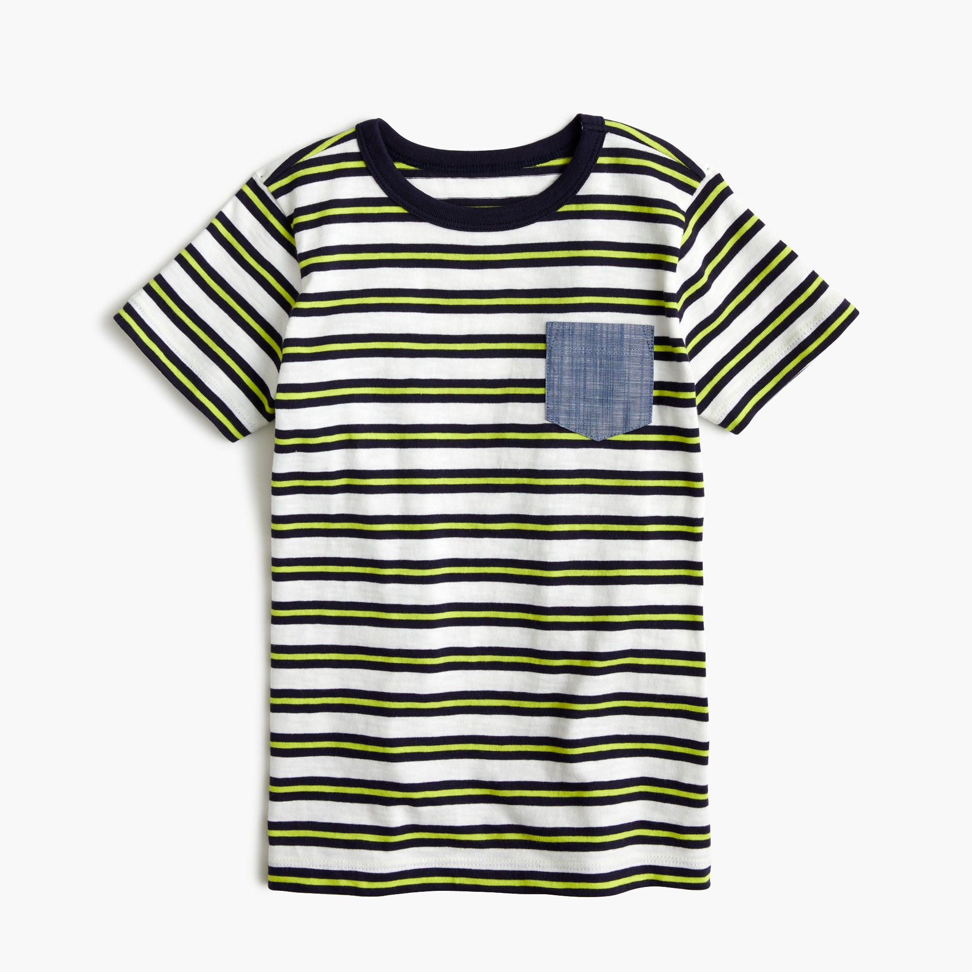 Boys' striped chambray-pocket T-shirt in slub cotton boy new arrivals c