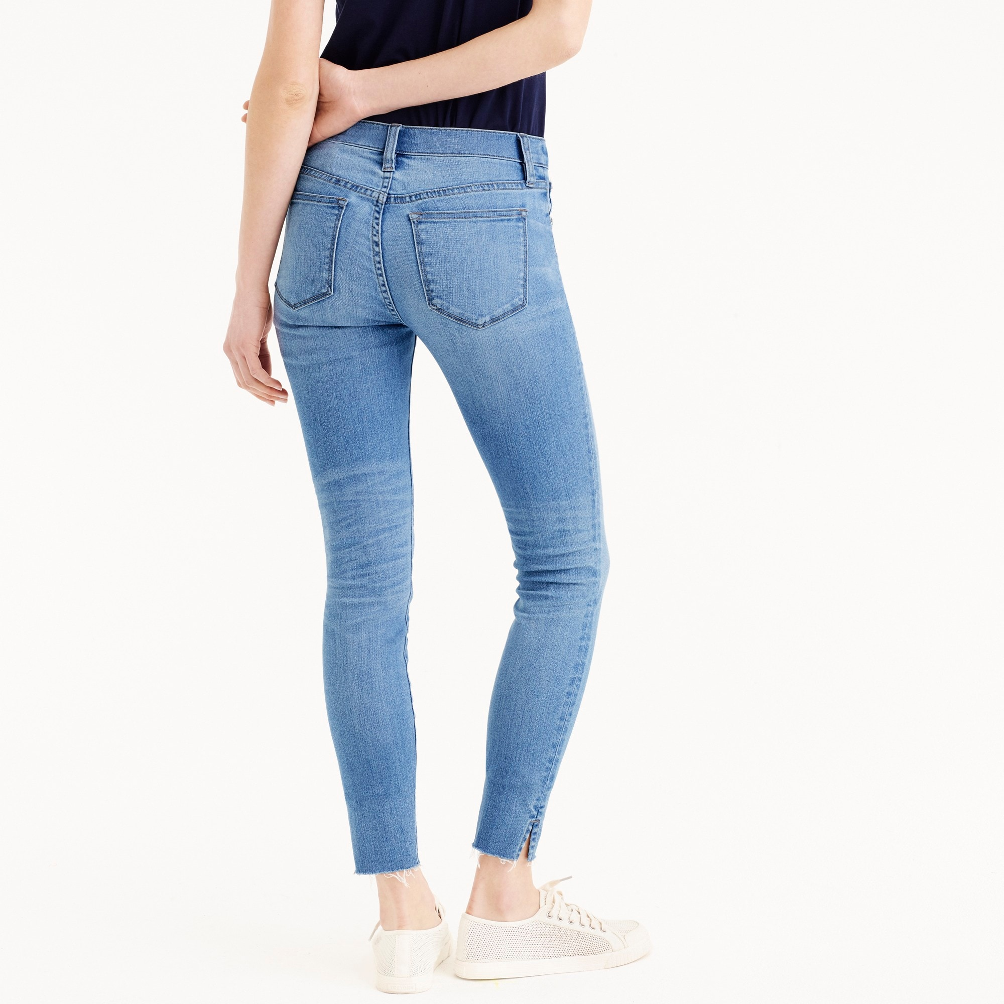 "Petite 8"" toothpick skinny jeans with side slits"
