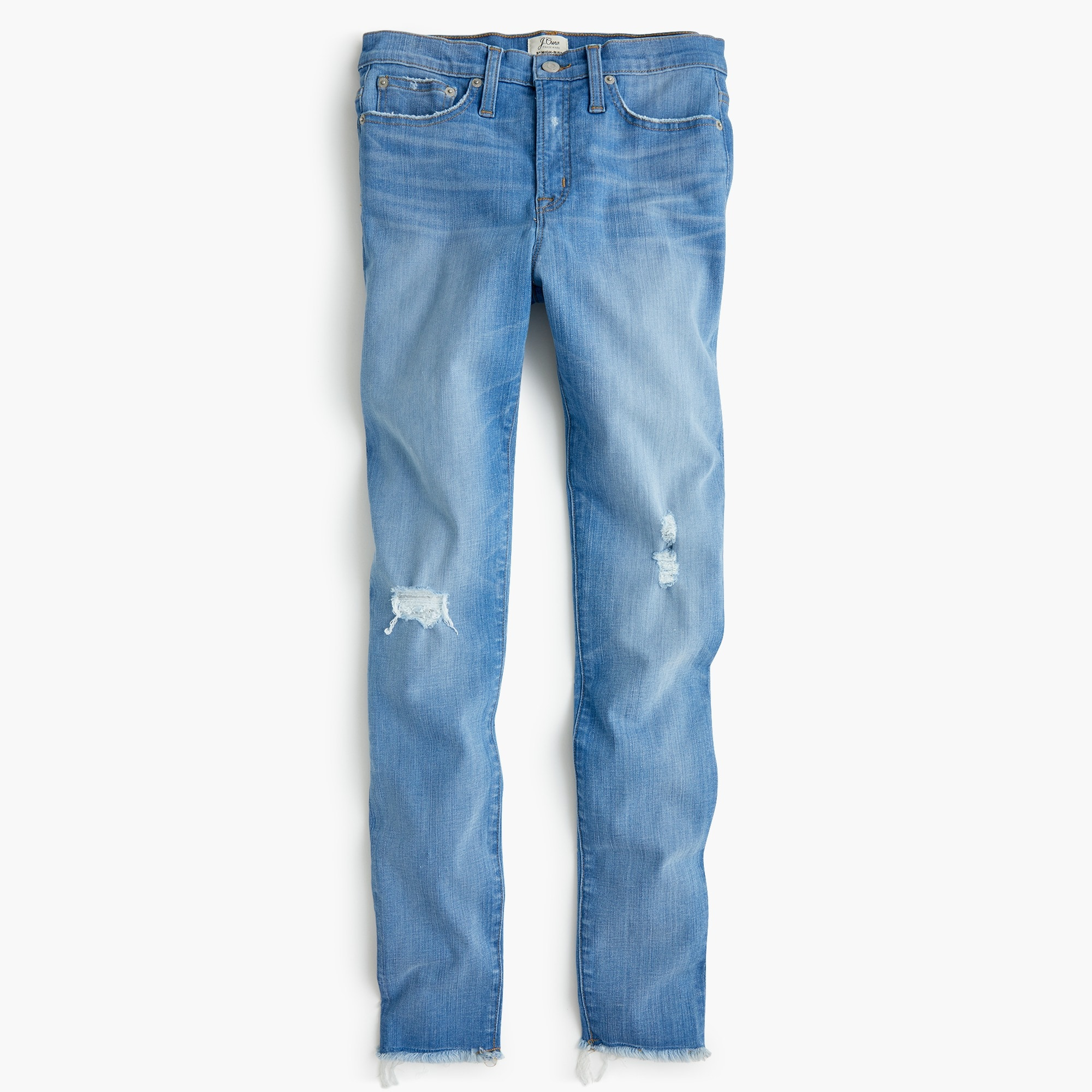 "Image 2 for 9"" high-rise toothpick jean in light blue with raw hems"