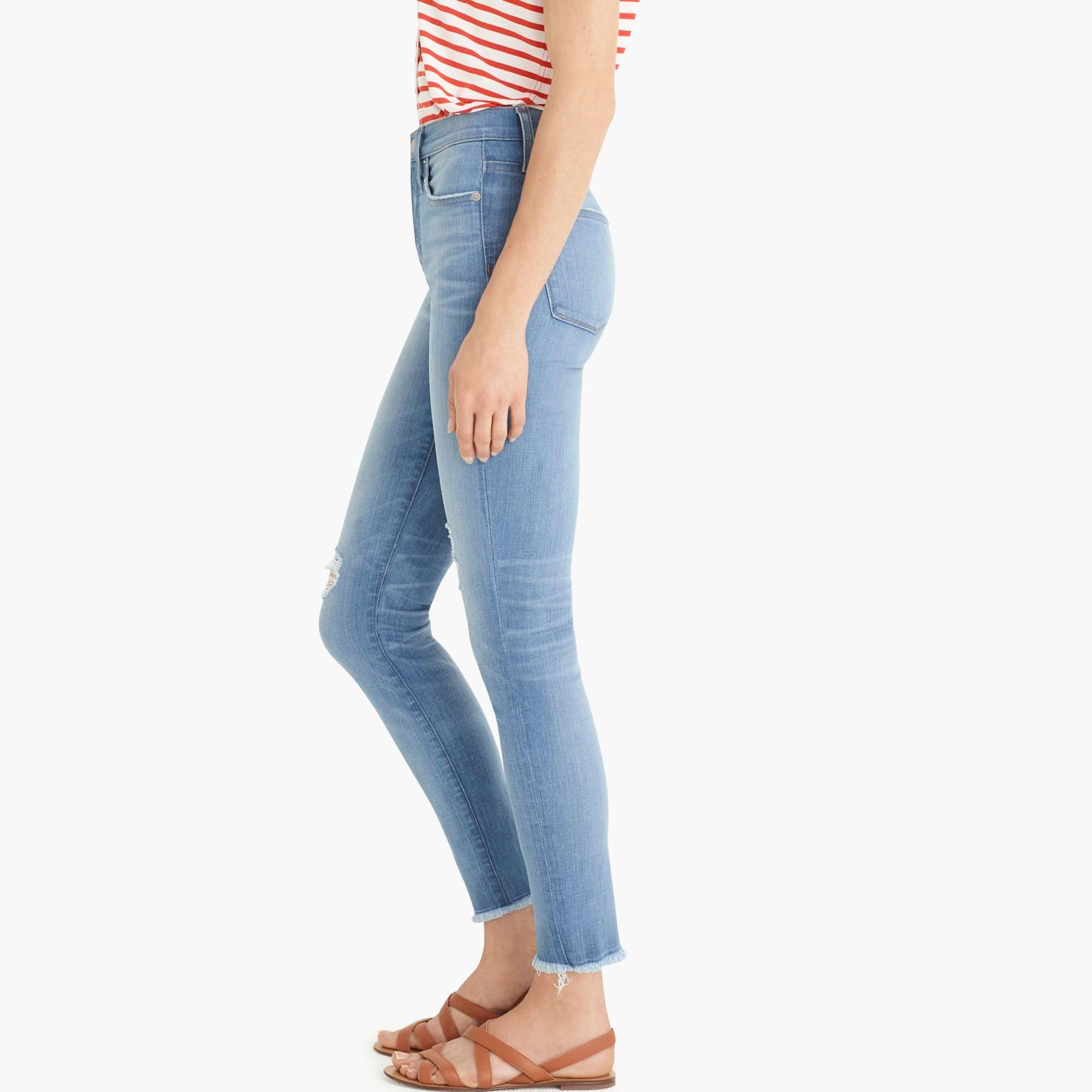 "Image 5 for 9"" high-rise toothpick jean in light blue with raw hems"