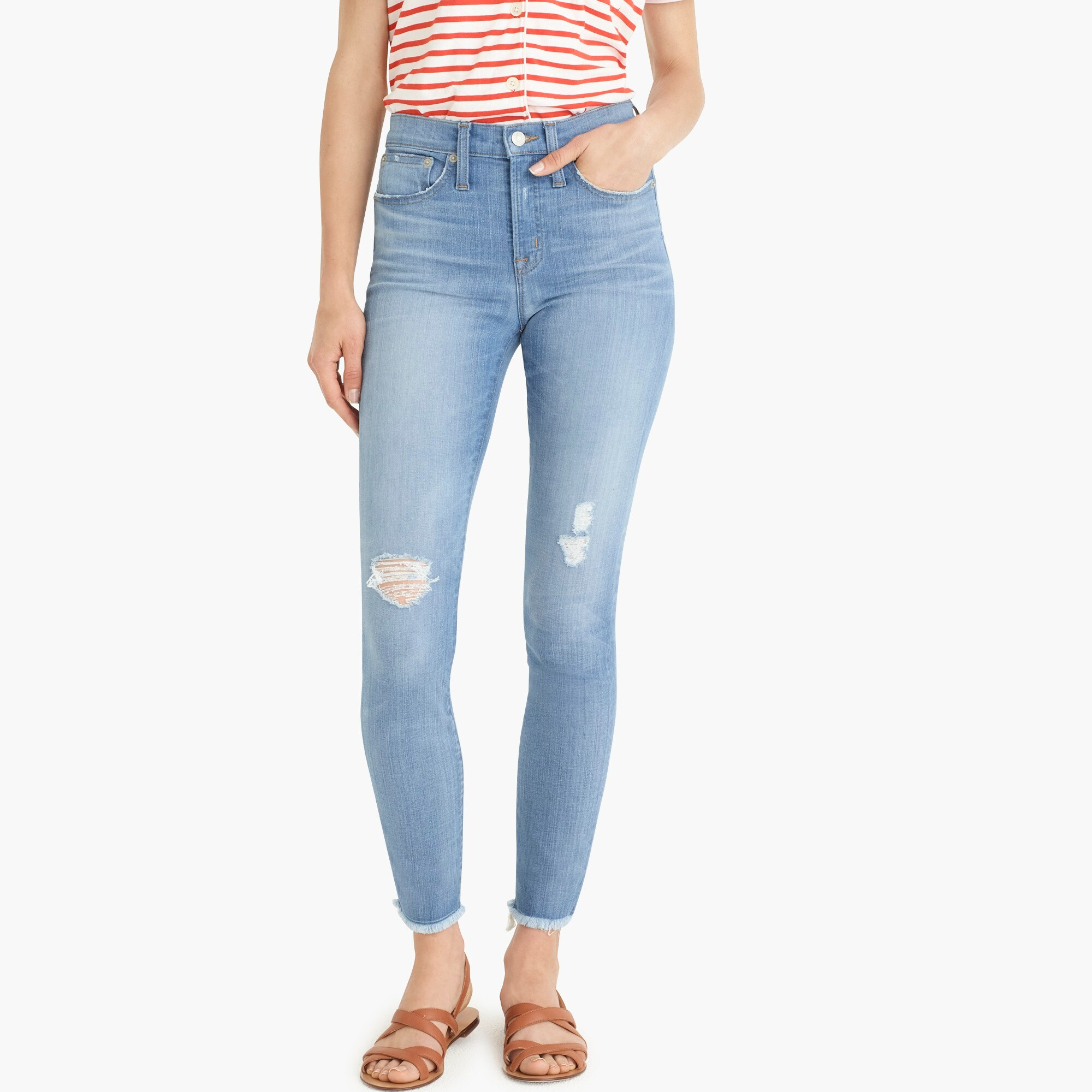 "Image 1 for 9"" high-rise toothpick jean in light blue with raw hems"
