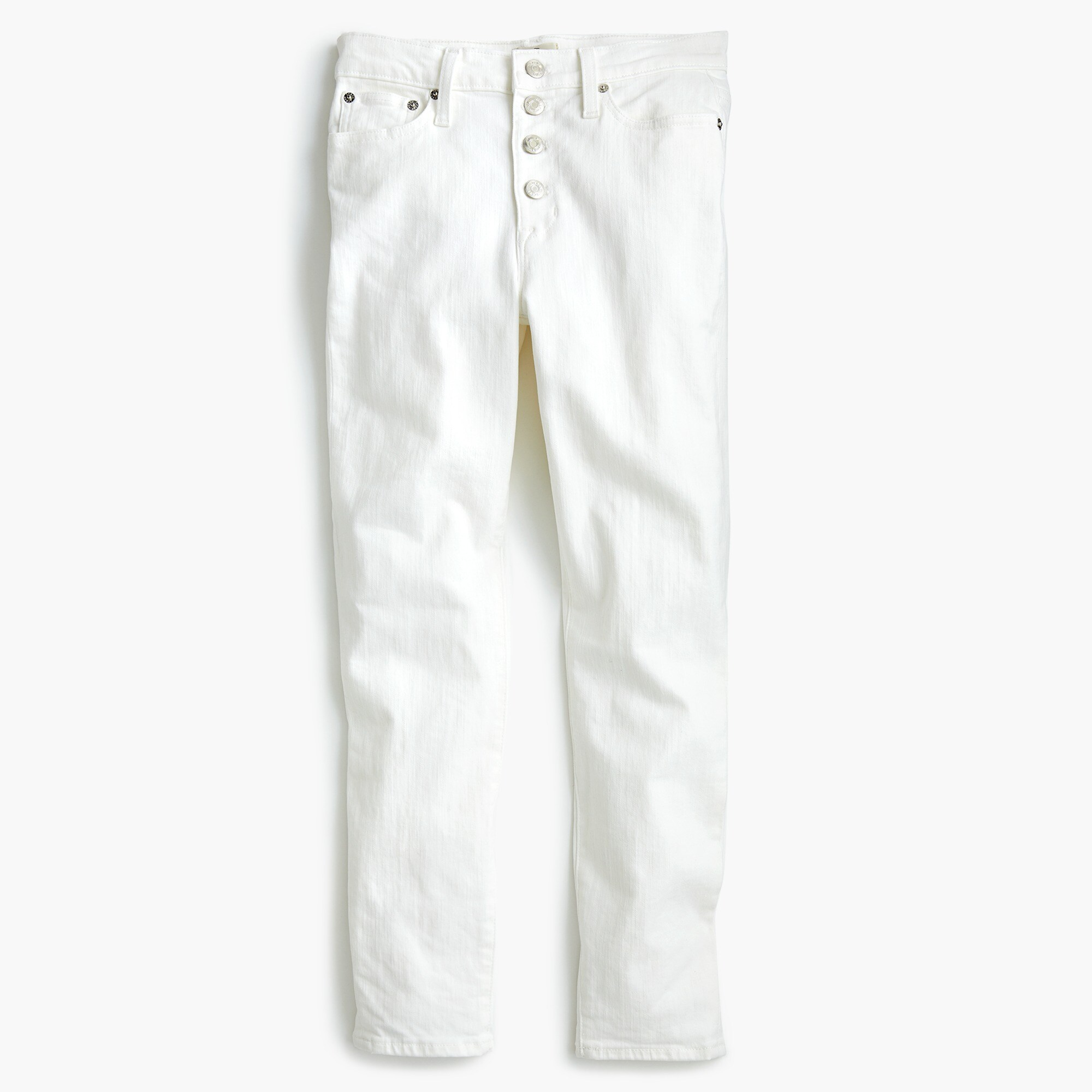 "9"" high-rise toothpick jean in white with button fly"