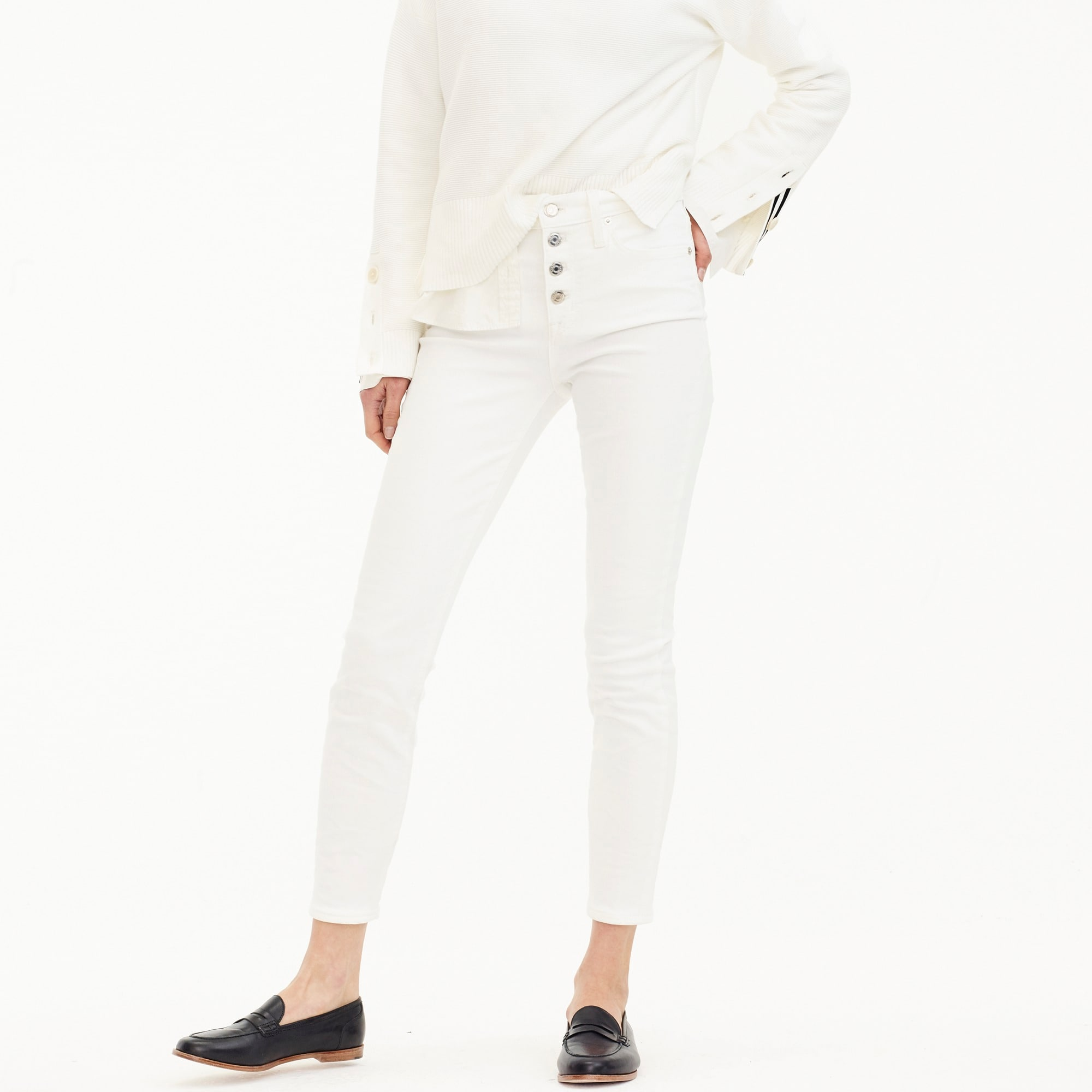 "Petite 9"" high-rise toothpick jean in white with button fly"