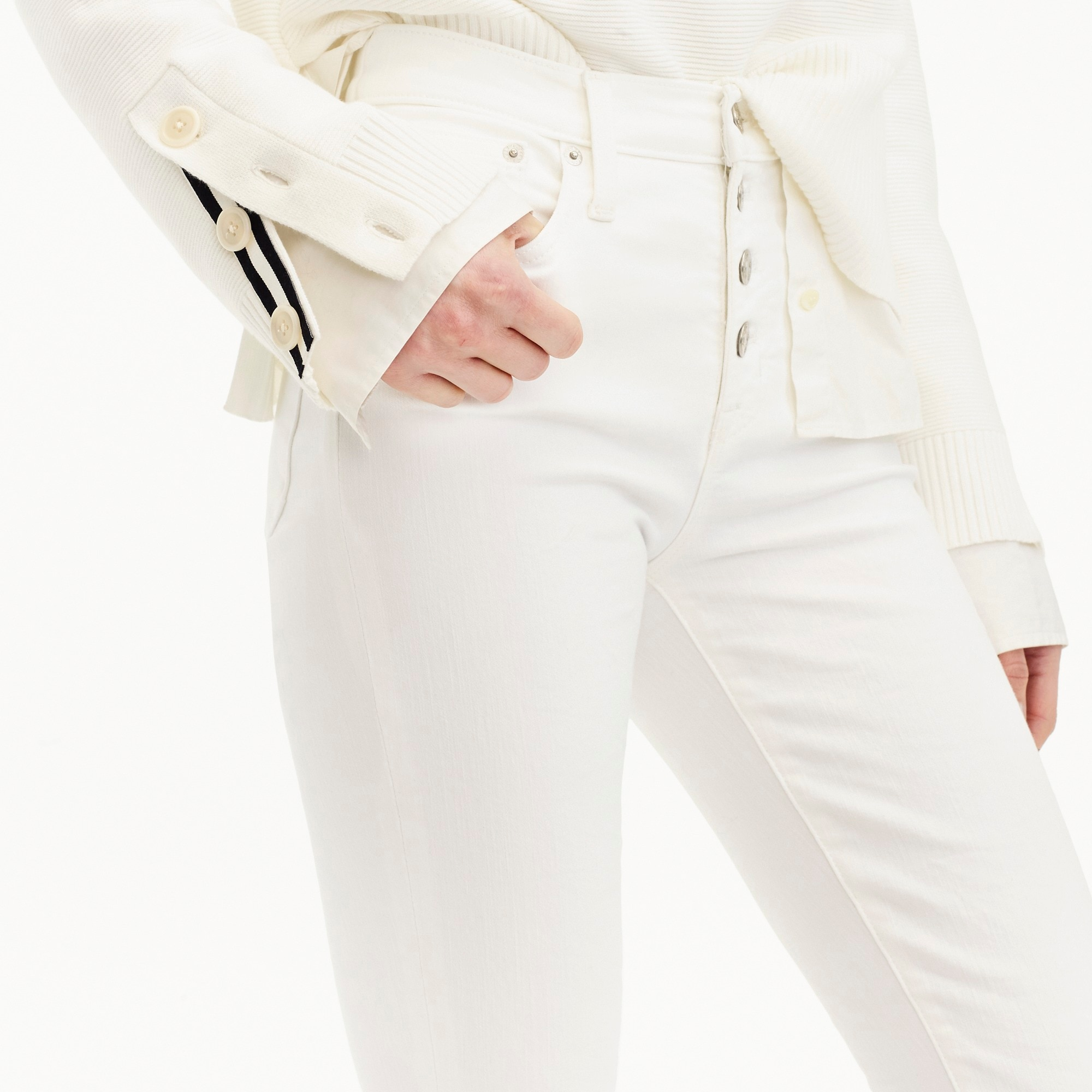 women's 9 high-rise toothpick jean in white with button fly - women's pants