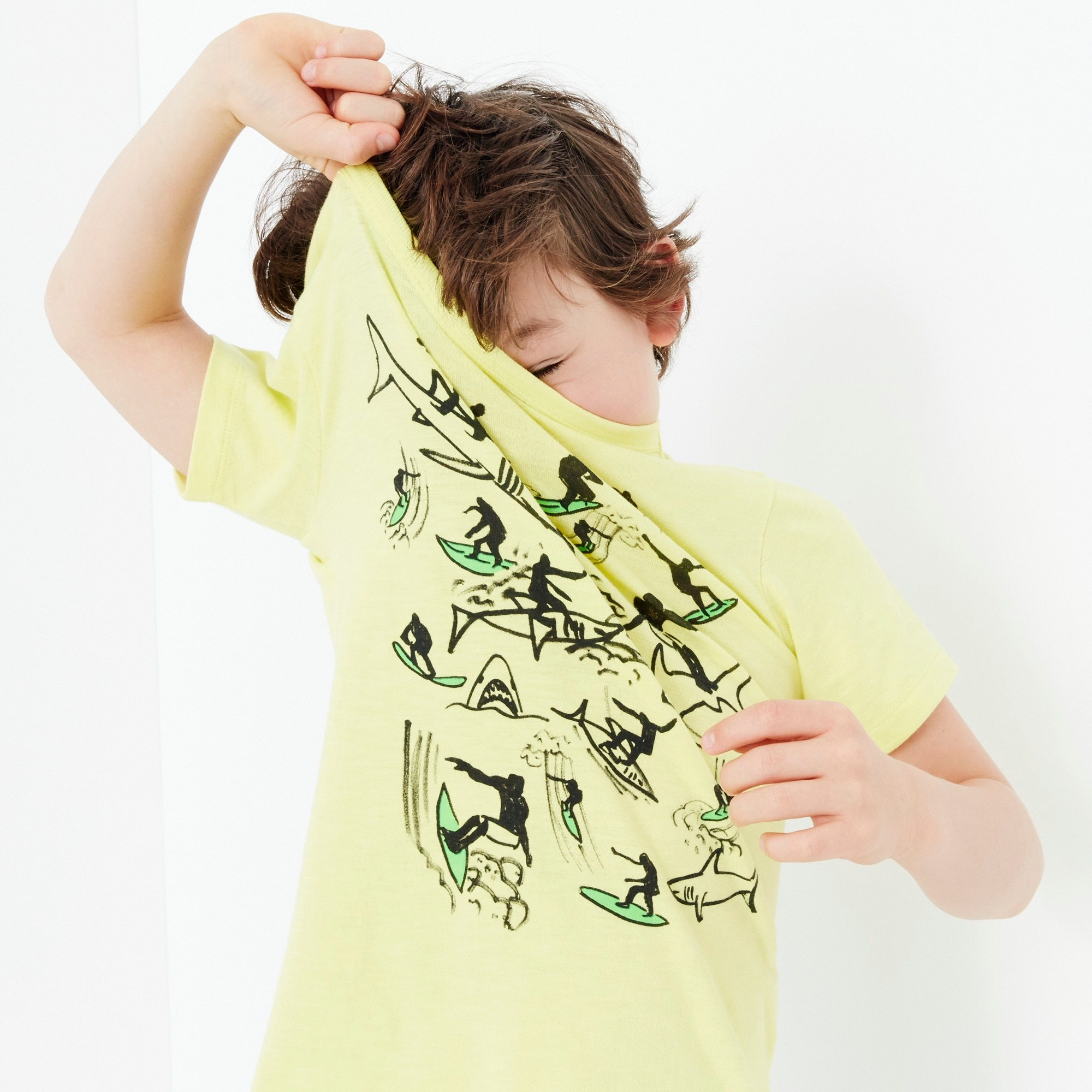 boys Boys' surfing with sharks T-shirt