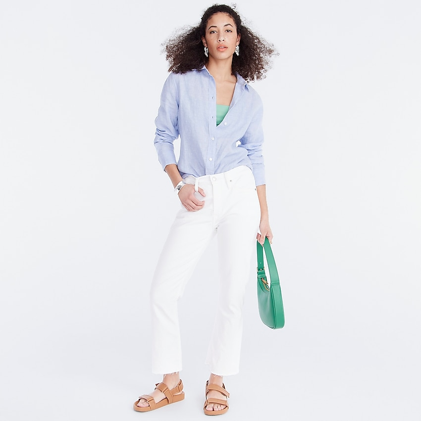j.crew: demi-boot crop jean in white for women, right side, view zoomed