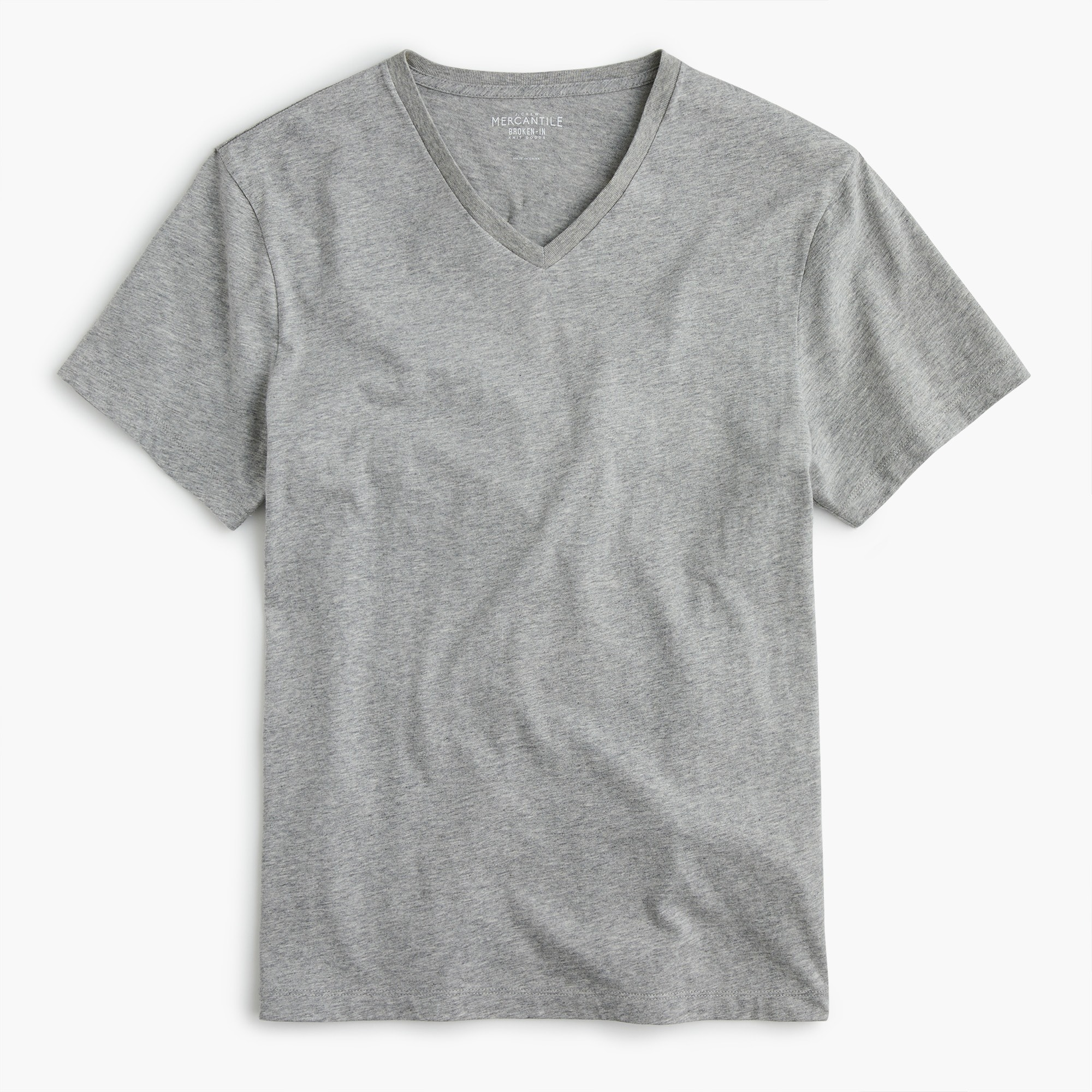 J.Crew Mercantile Broken-in V-neck T-shirt in heather grey men t-shirts & polos c