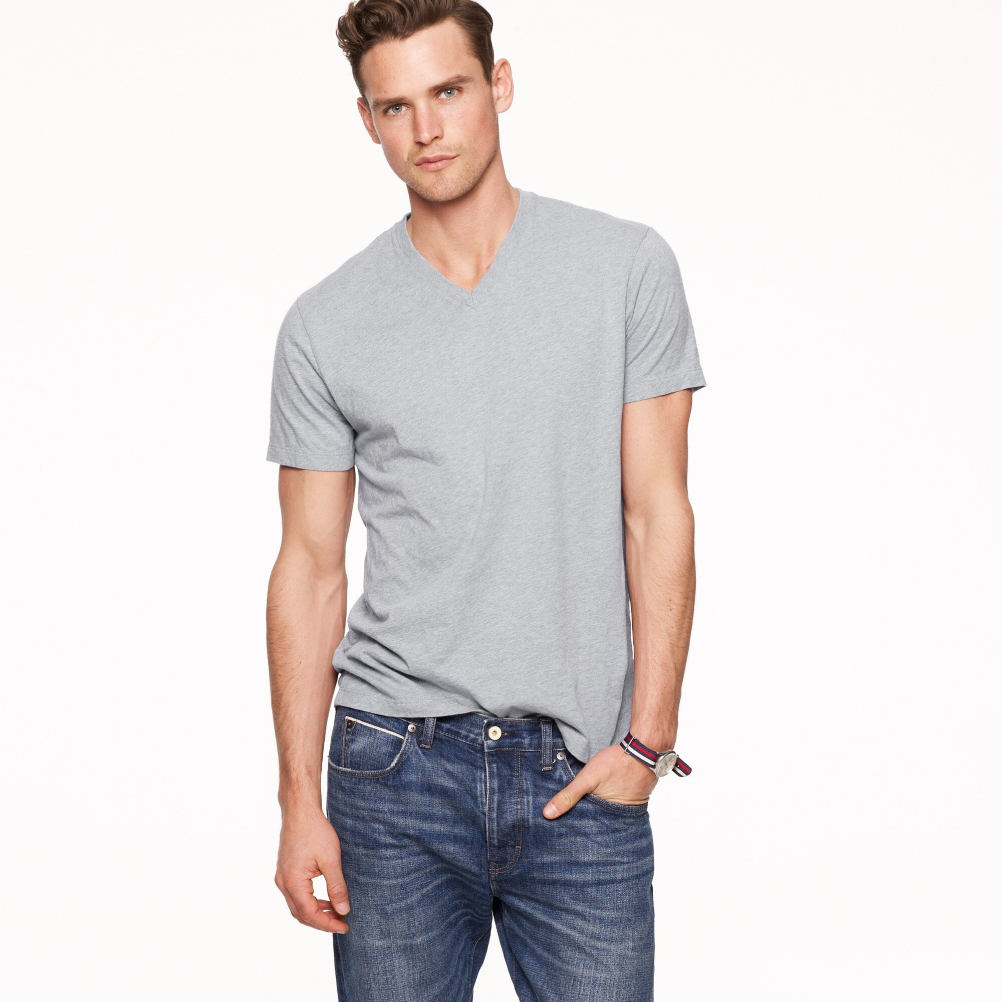 Slim J.Crew Mercantile Broken-in V-neck T-shirt in heather grey