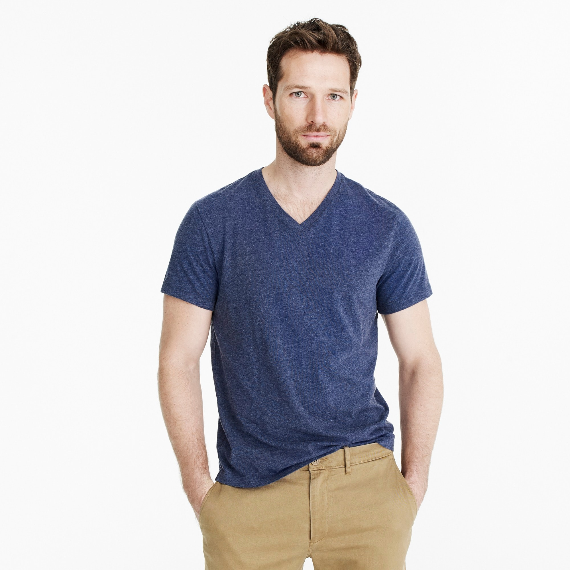 Slim J.Crew Mercantile Broken-in V-neck heather T-shirt