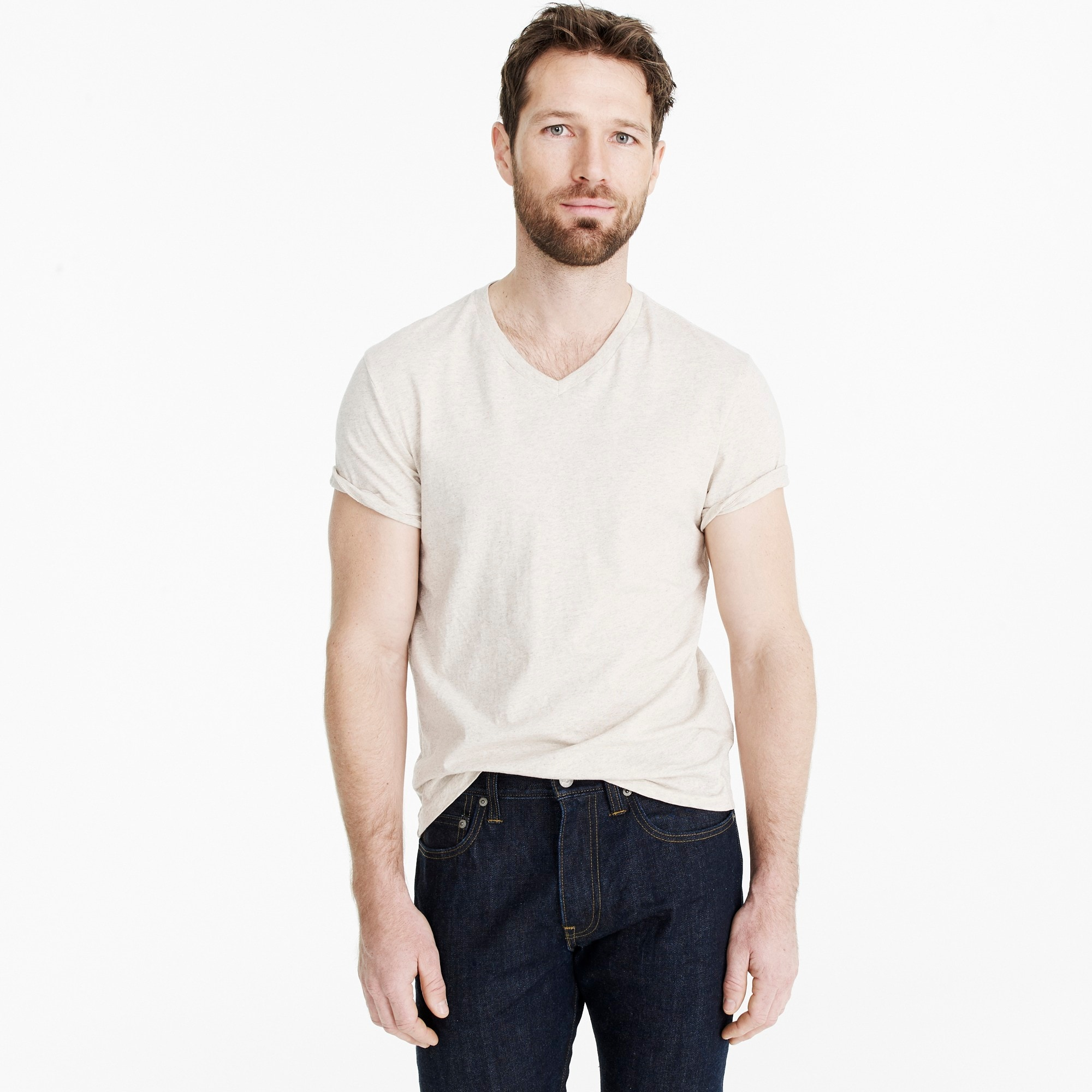 men's j.crew mercantile broken-in heather v-neck t-shirt - men's knits