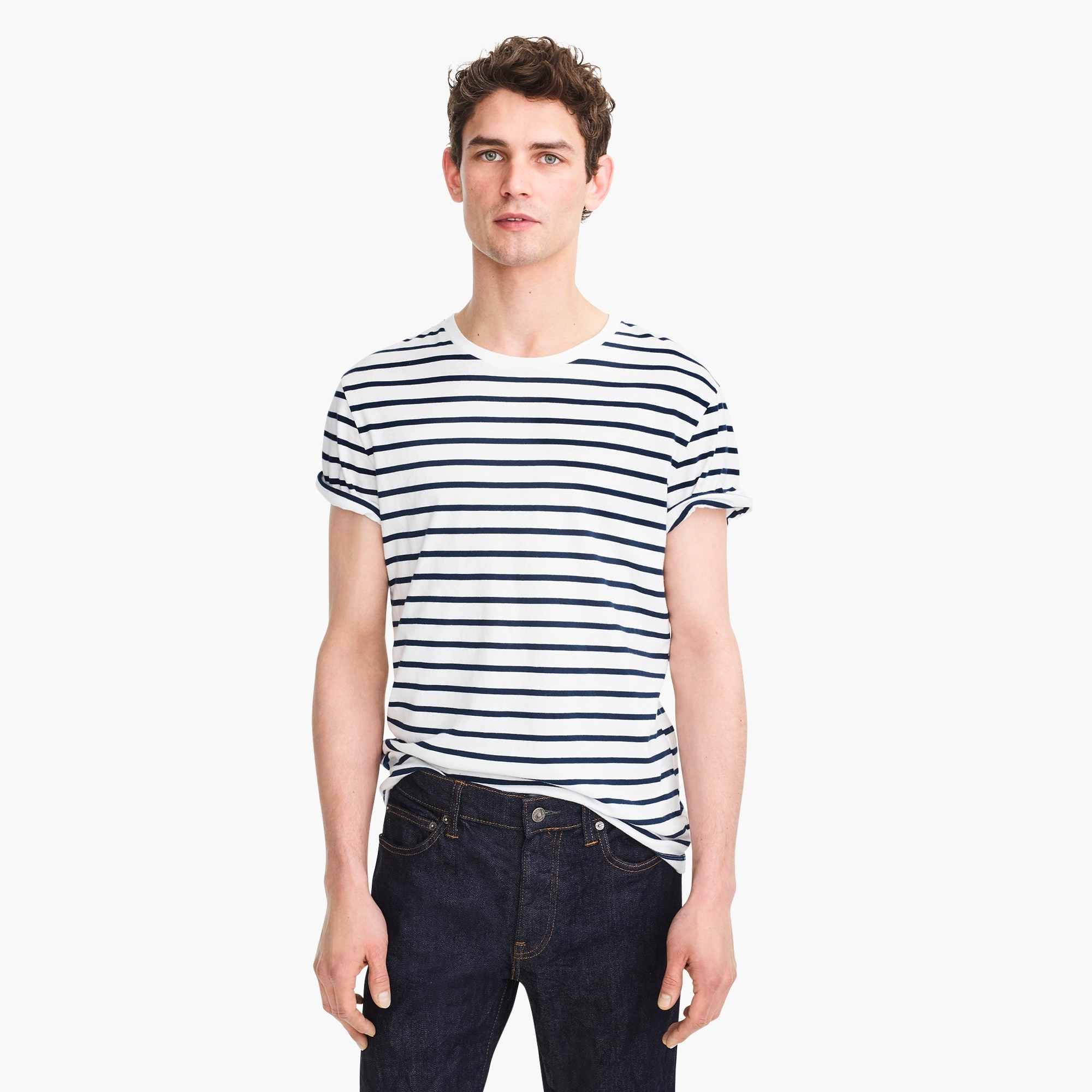 mens Tall J.Crew Mercantile Broken-in T-shirt in deck stripe