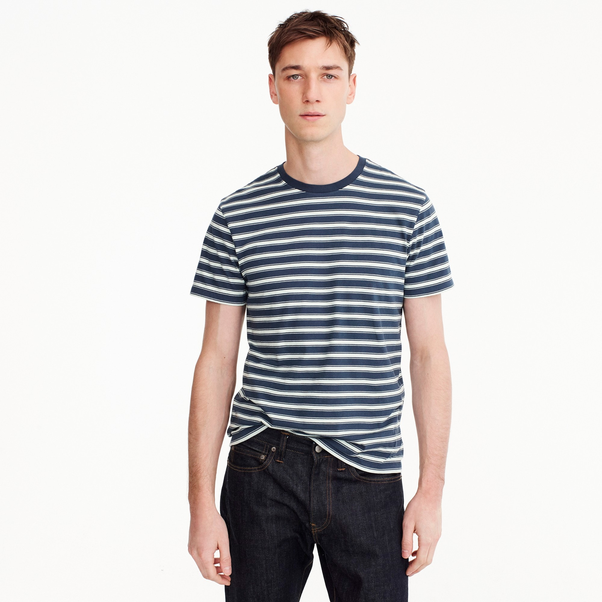 men's tall j.crew mercantile broken-in t-shirt in navy stripe - men's knits