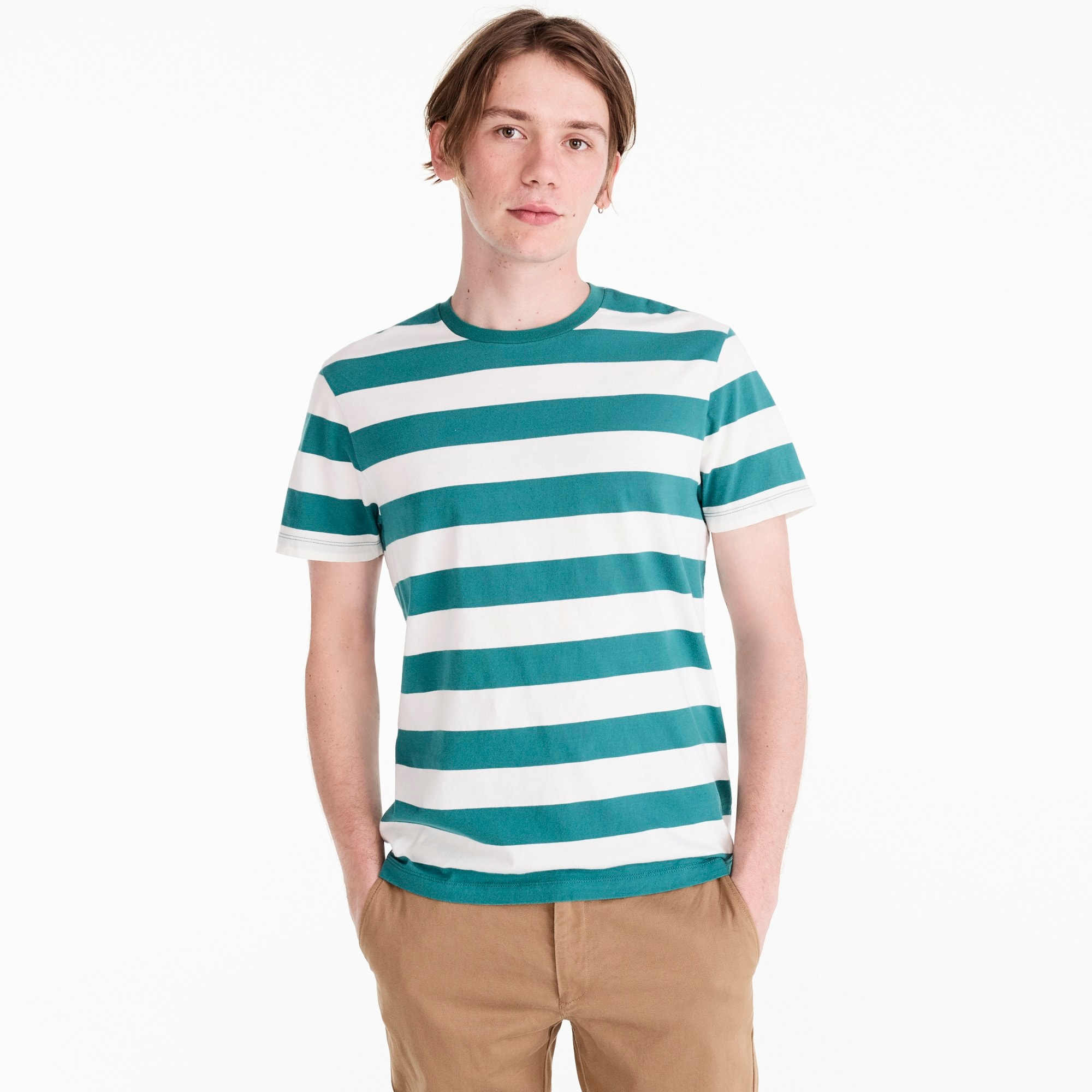 Tall J.Crew Mercantile Broken-in T-shirt in turquoise stripe