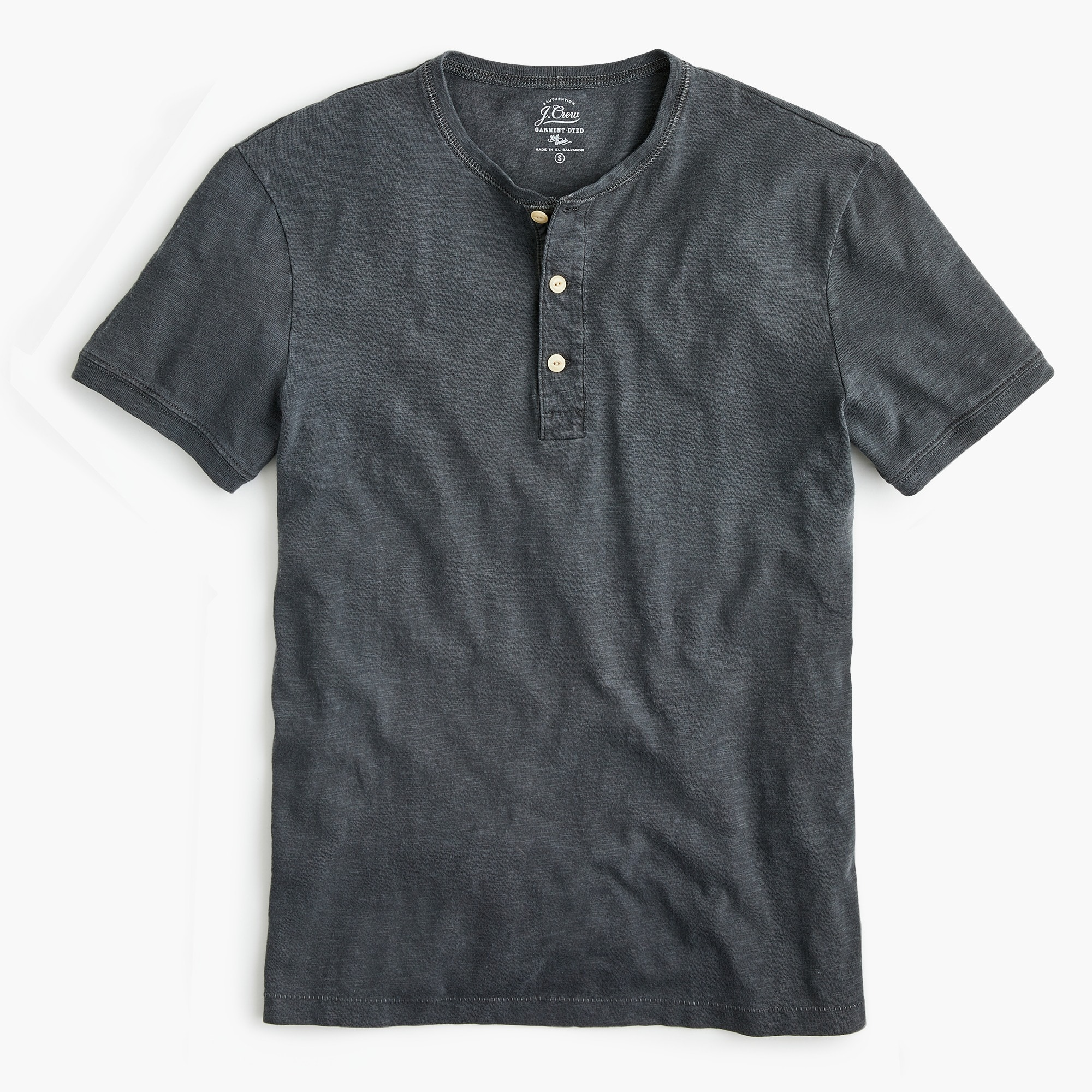 mens Tall garment-dyed slub cotton short-sleeve henley