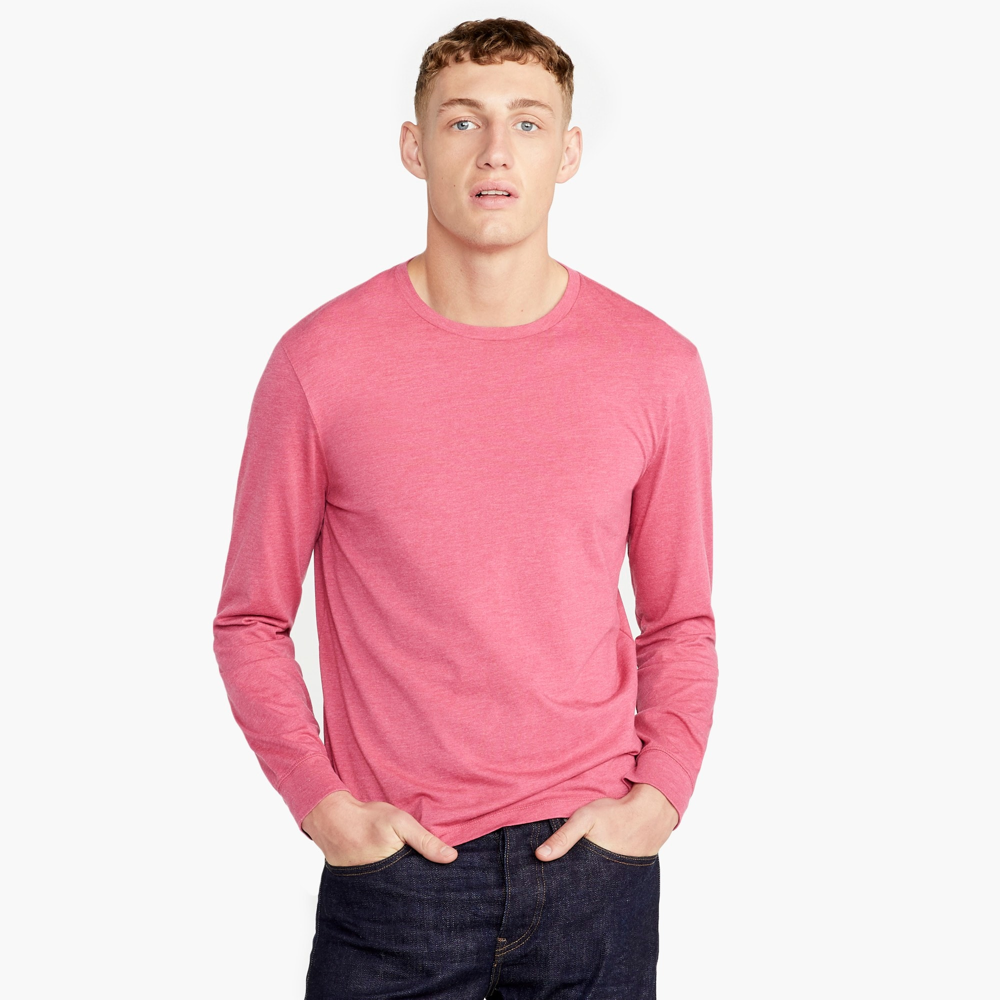Slim J.Crew Mercantile Broken-in long-sleeve heathered T-shirt