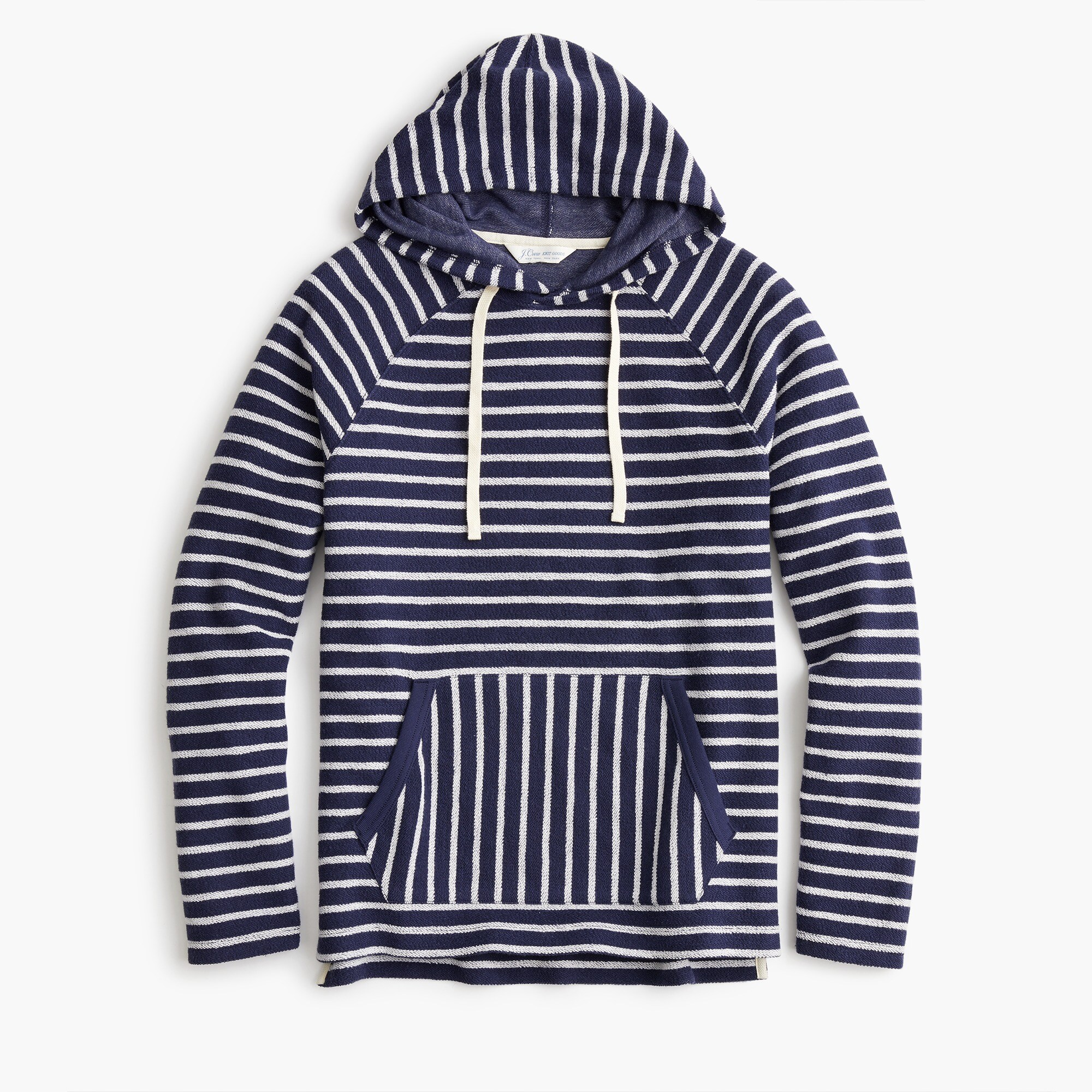 Image 1 for Reverse french terry fleece hoodie in blue stripe