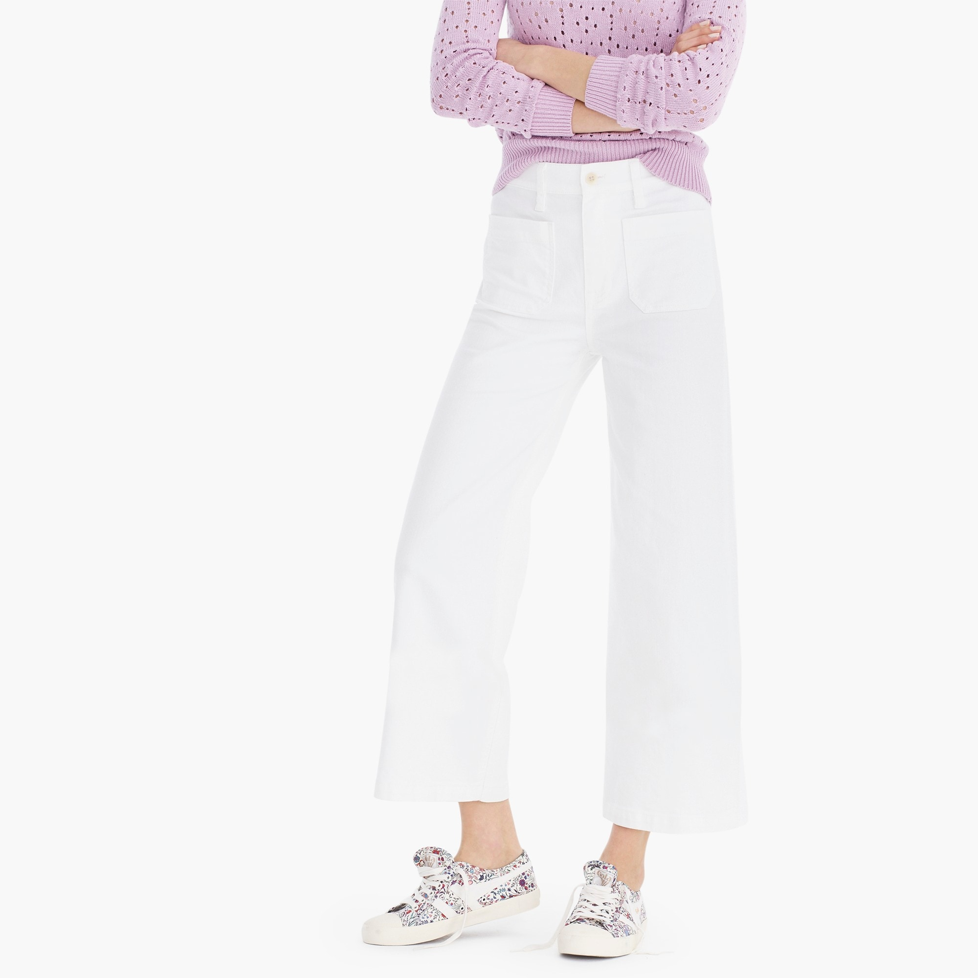 Point Sur wide-leg crop jean in white women j.crew in good company c