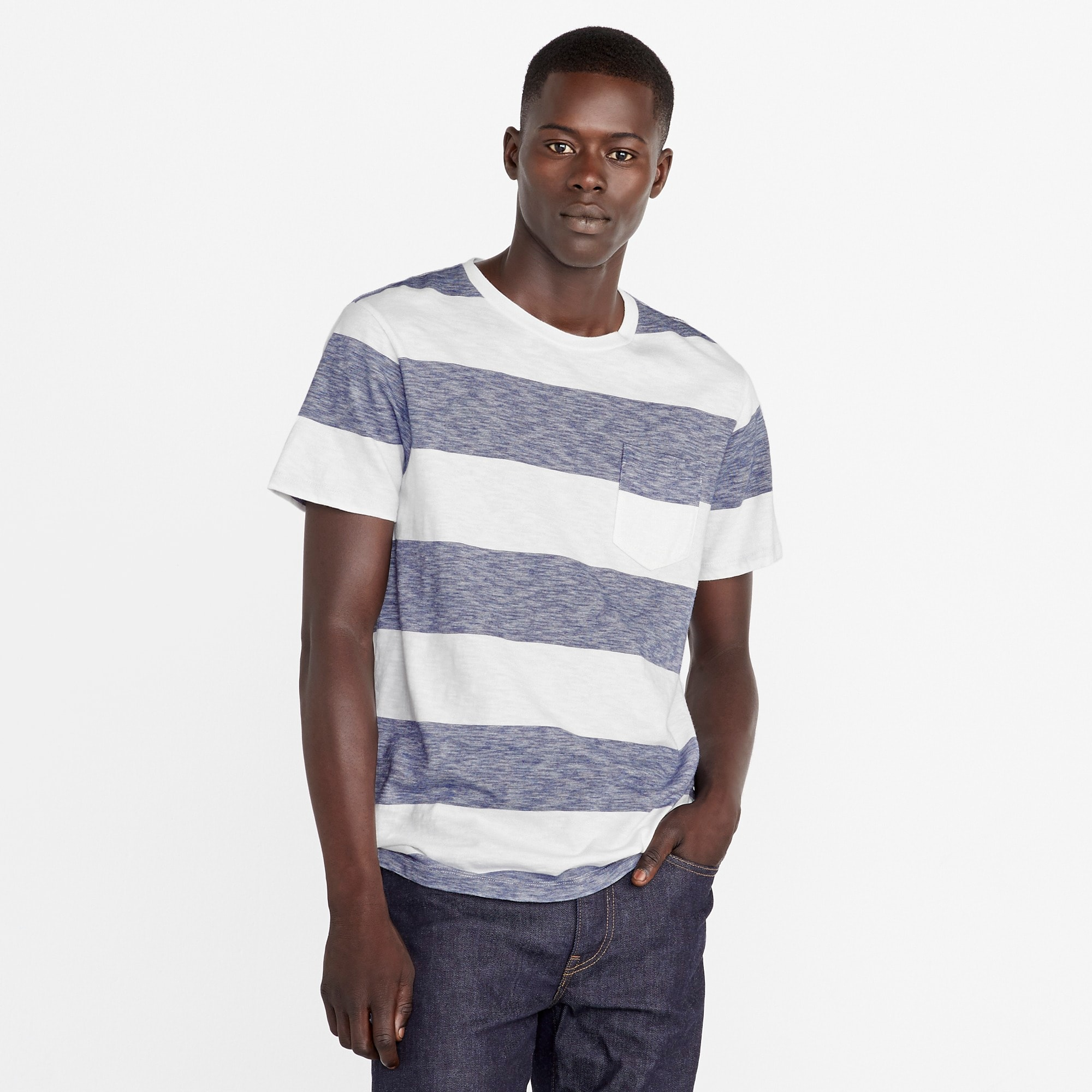 mens Tall Slub cotton T-shirt in ivory stripe