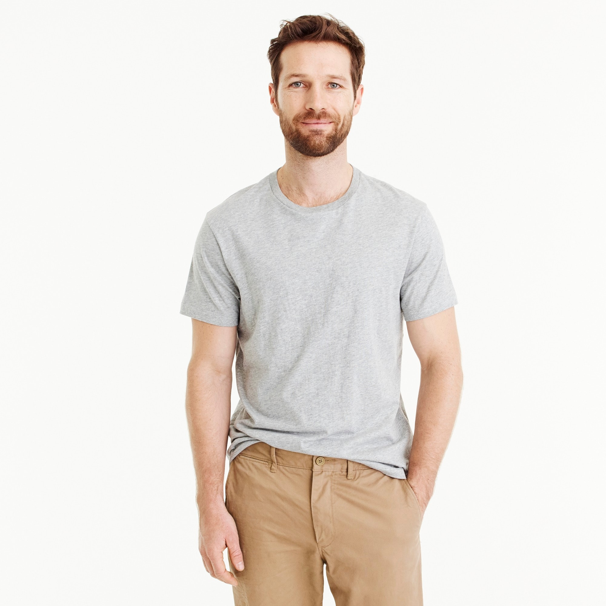 Slim J.Crew Mercantile Broken-in crewneck T-shirt in heather grey
