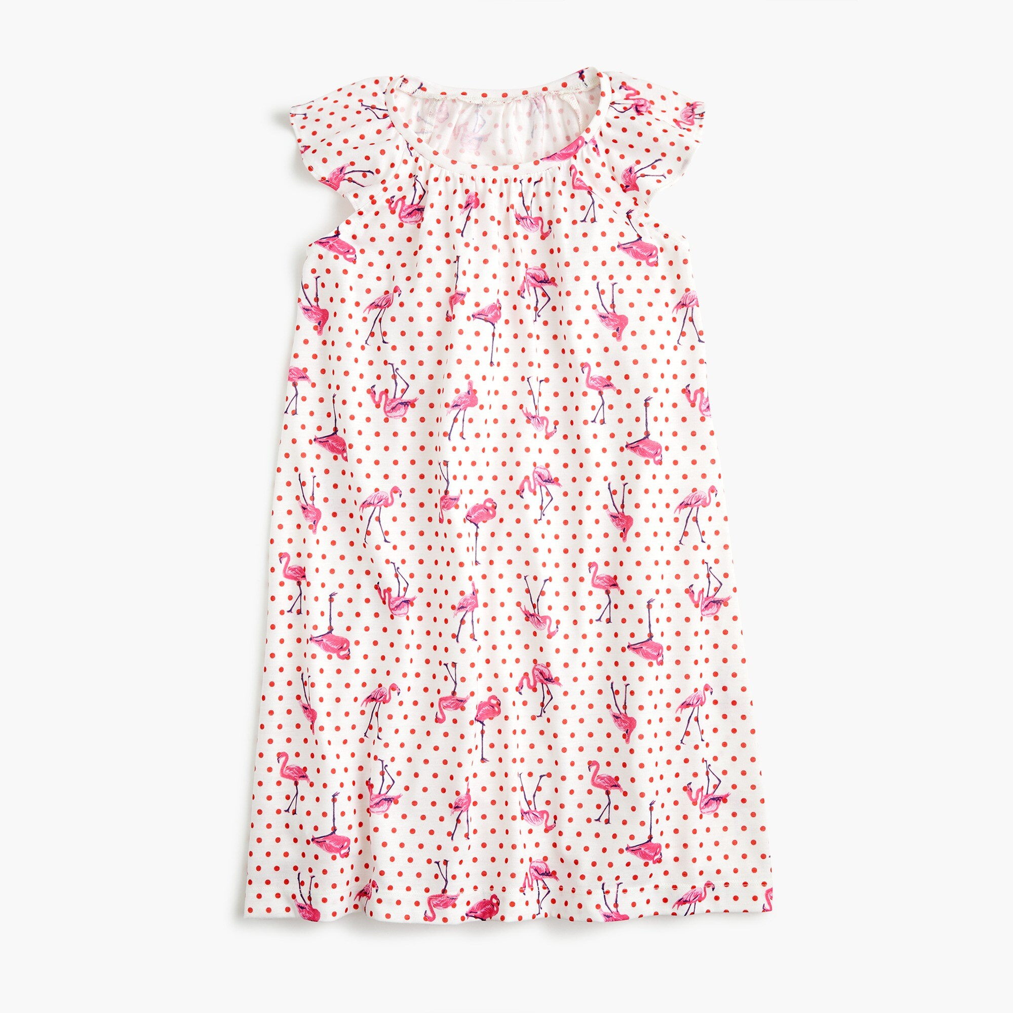 Image 1 for Girls' flutter-sleeve nightgown in flamingo dot