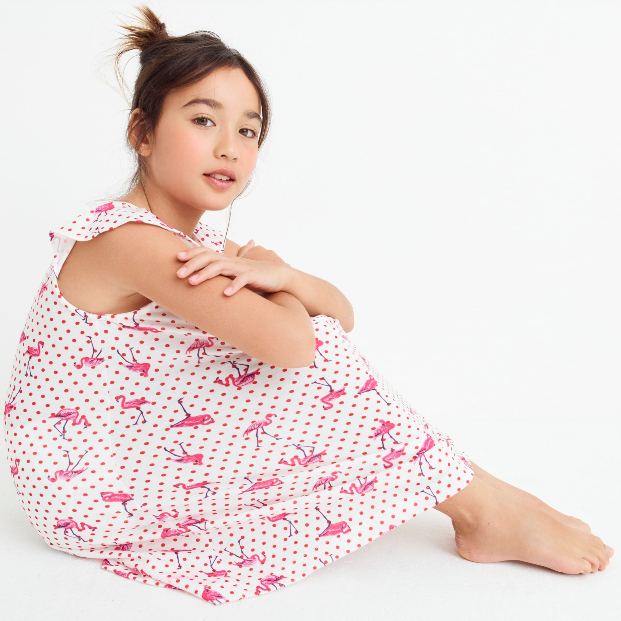 girls Girls' flutter-sleeve nightgown in flamingo dot