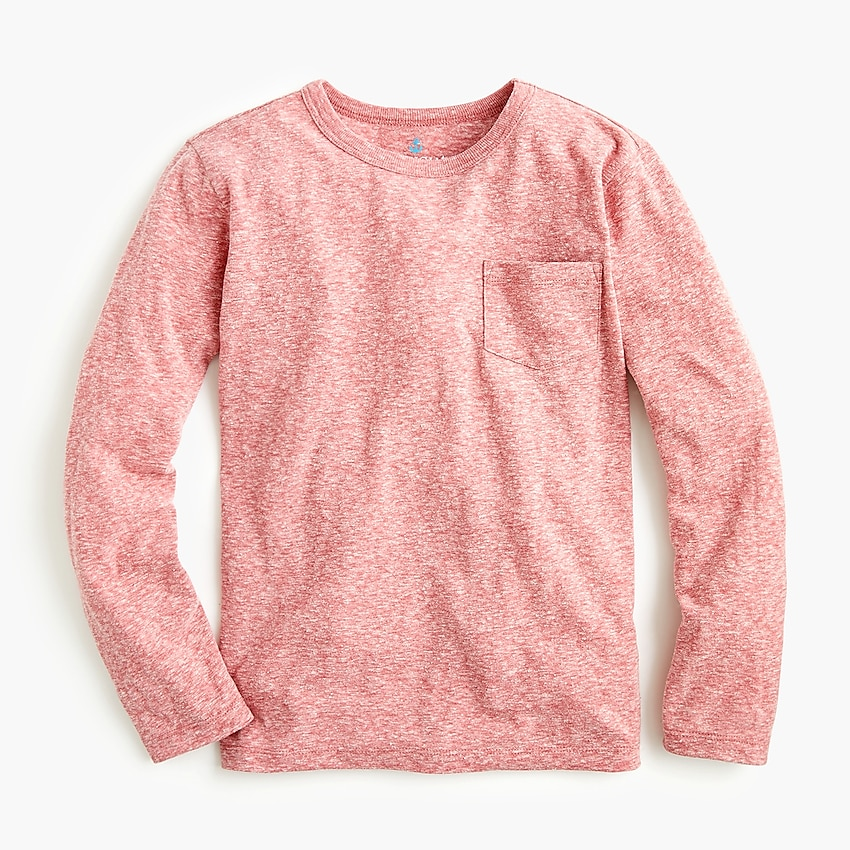 j.crew: boys' long-sleeve pocket t-shirt in the softest jersey, right side, view zoomed