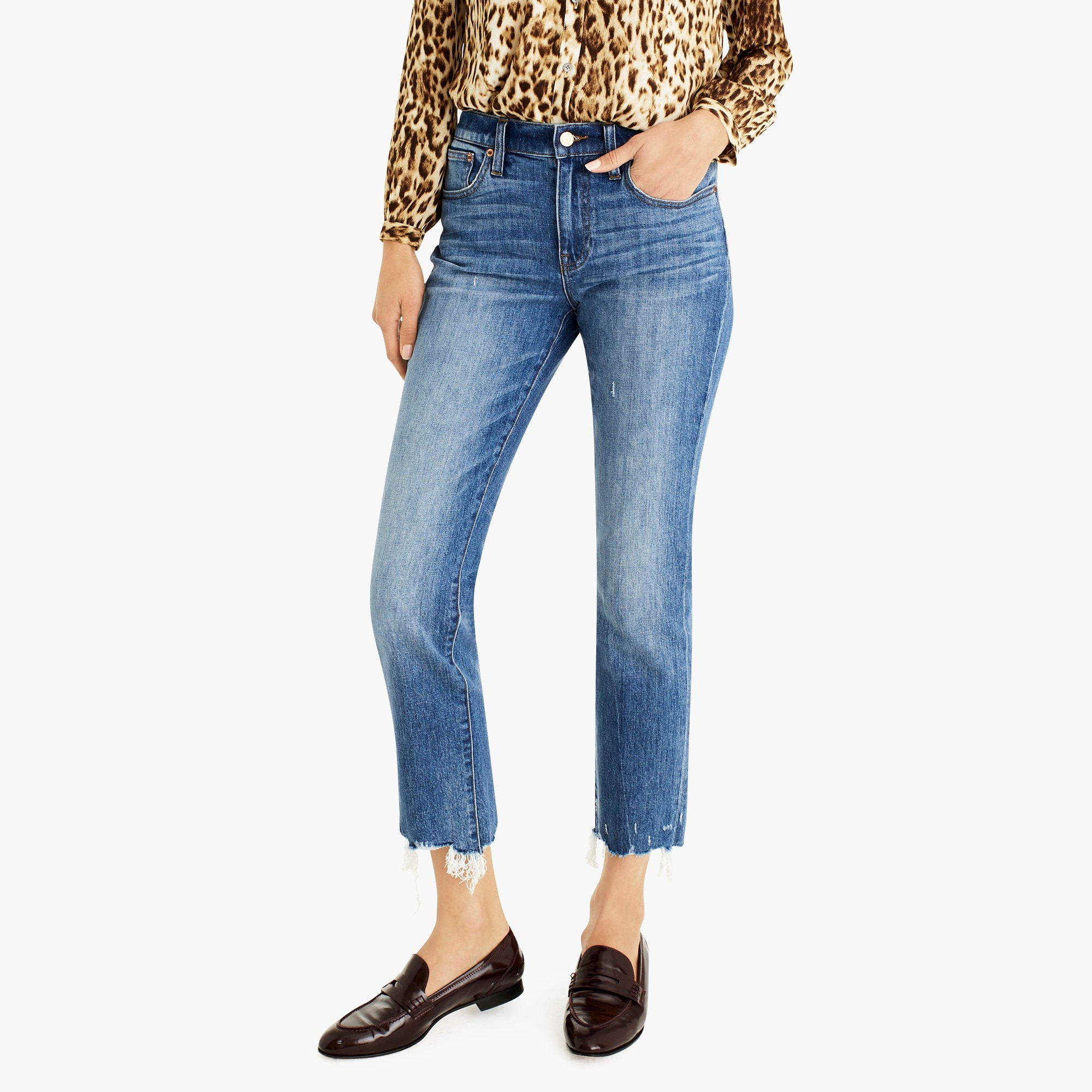 womens Slim boyfriend jean with chewed hems