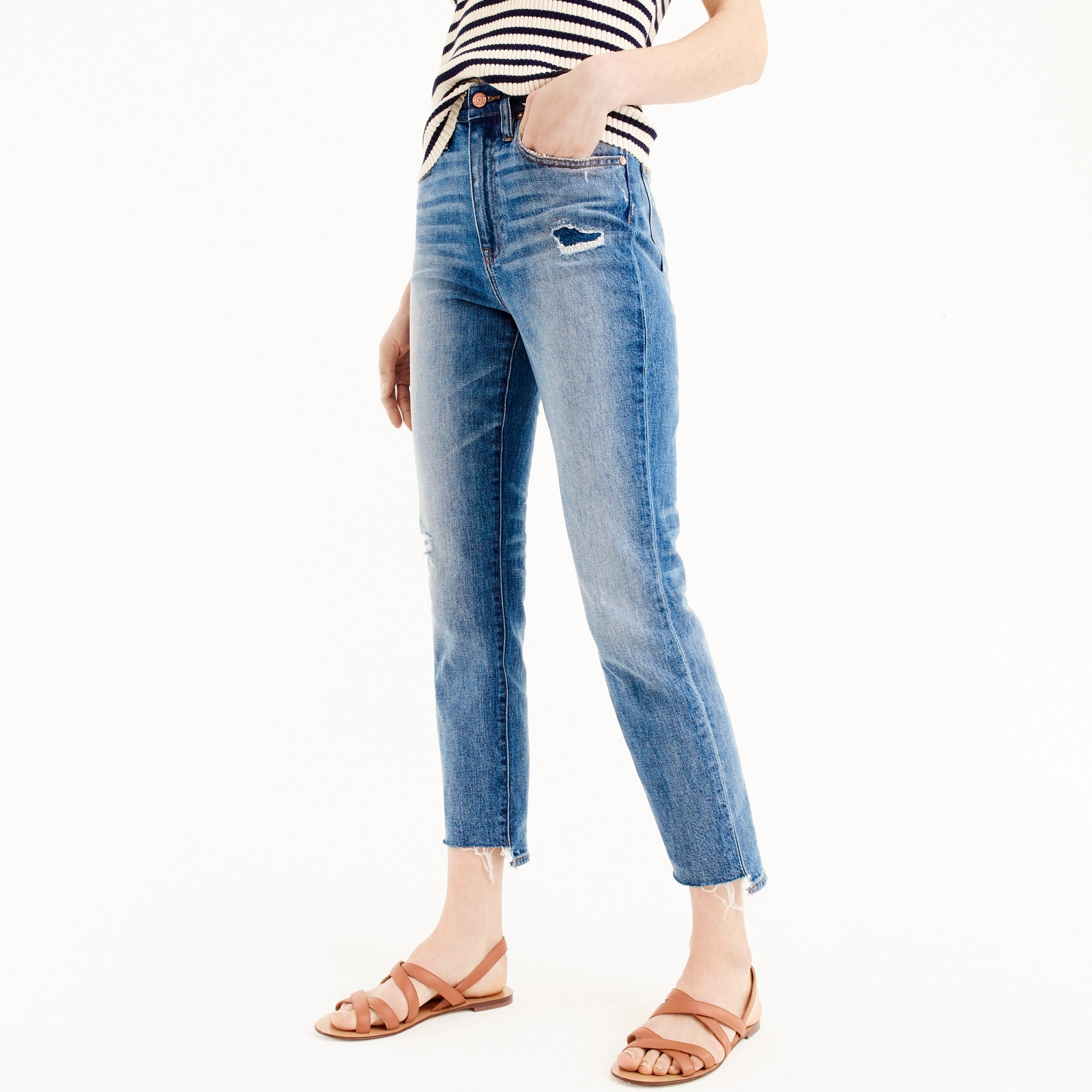 Point Sur high-rise boyfriend jean with uneven hems