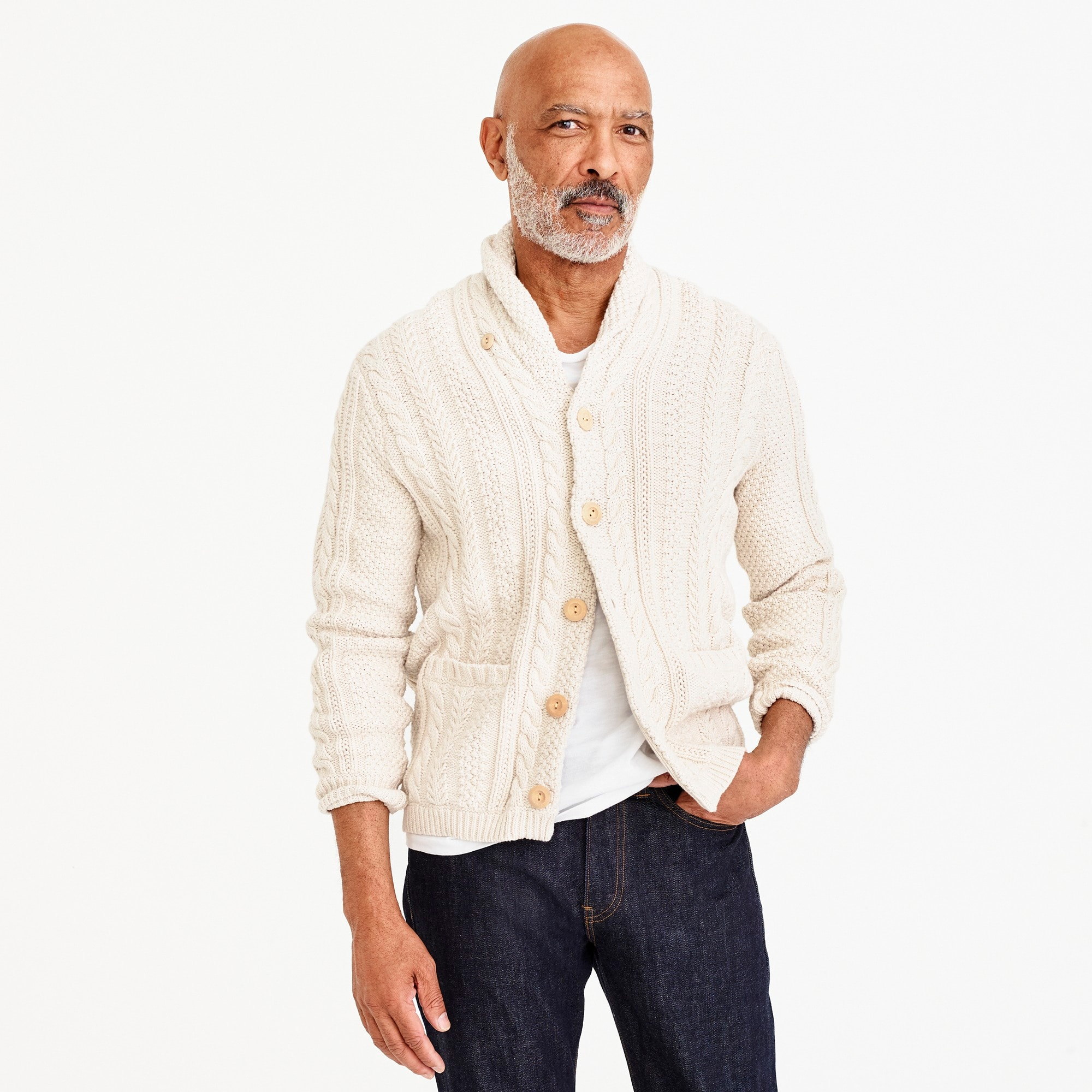 mens Shawl-collar cotton cable-knit cardigan