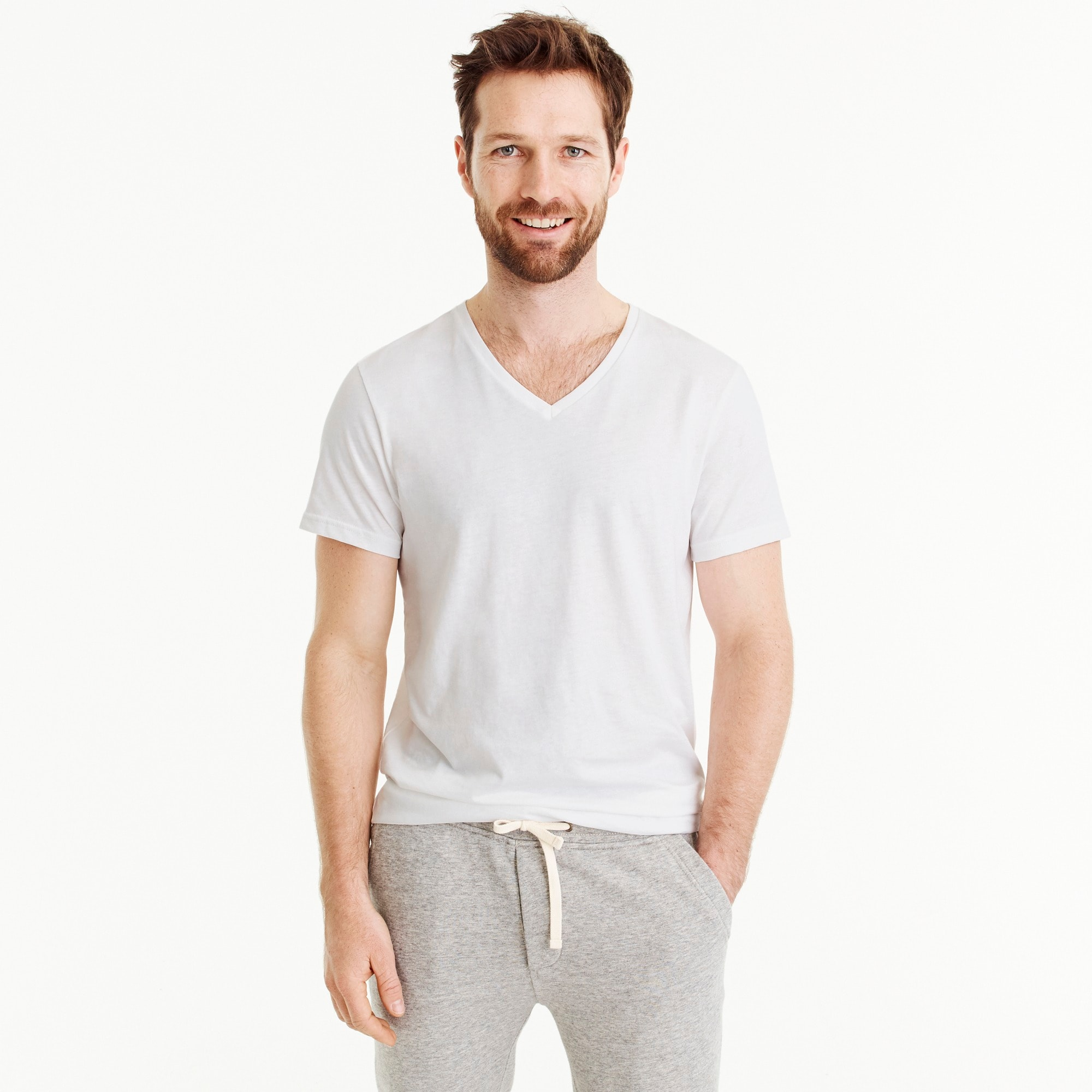 mens White V-neck undershirt