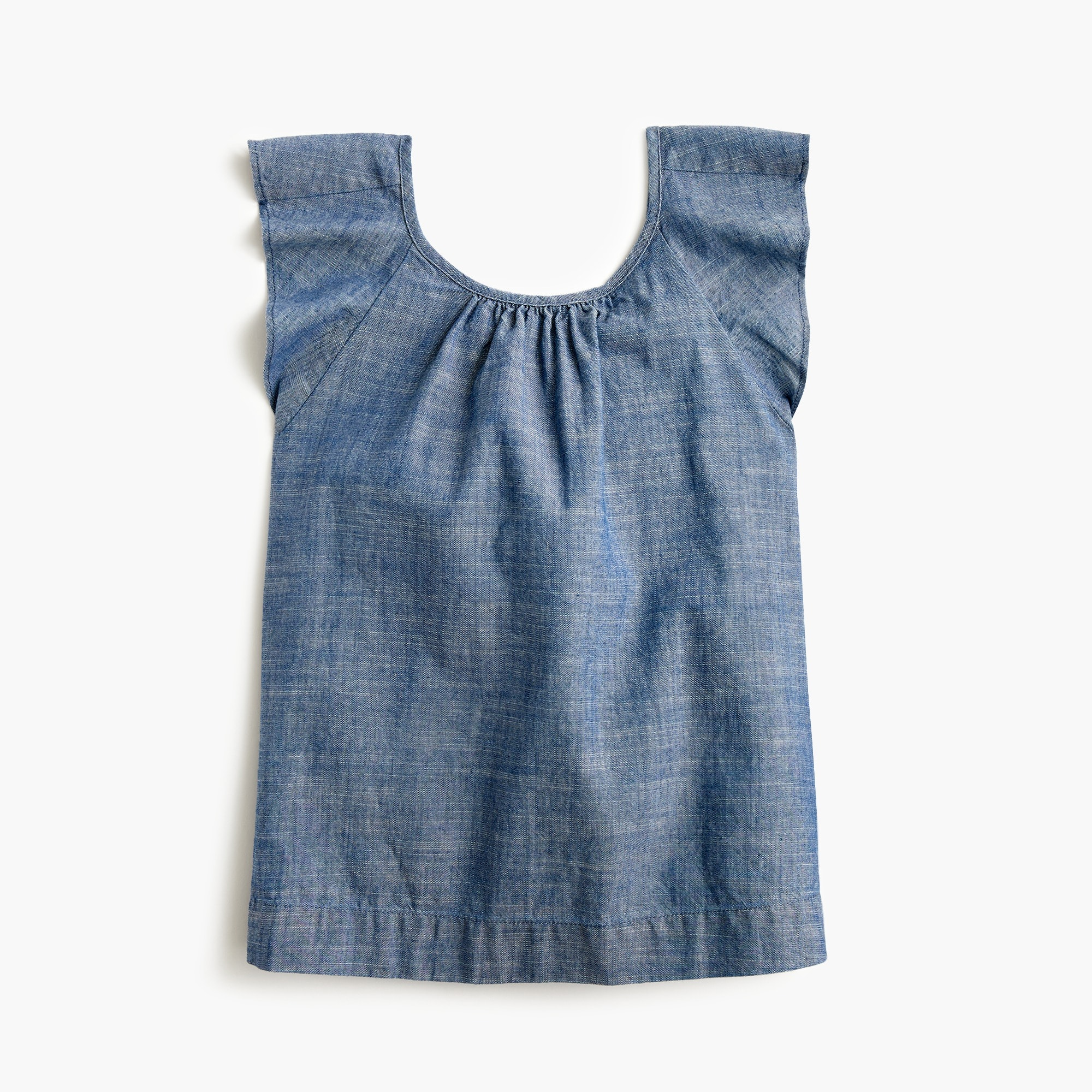 girls Girls' flutter-sleeve top in chambray