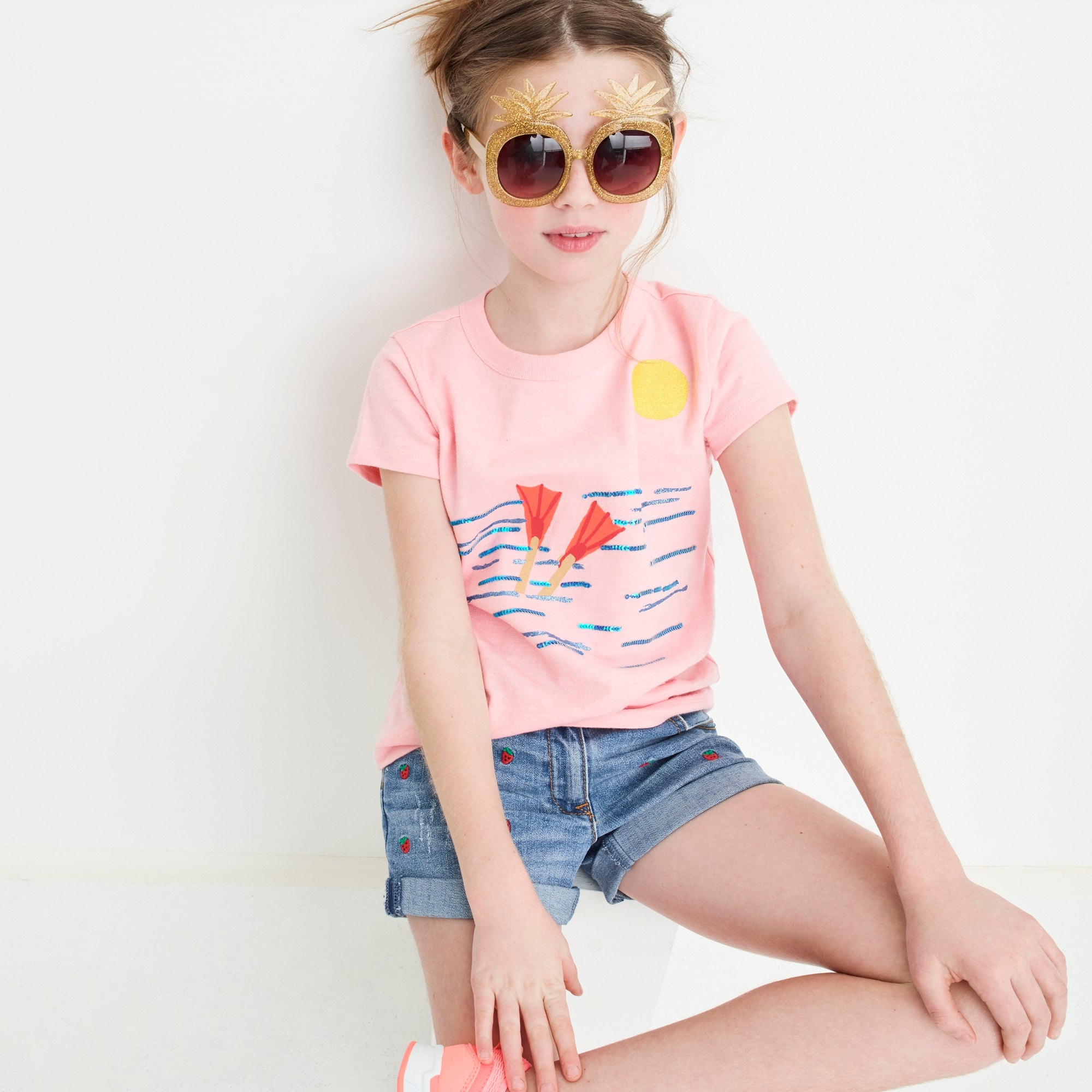 Girls' Madewell X crewcuts strawberry embroidered jean short girl denim c