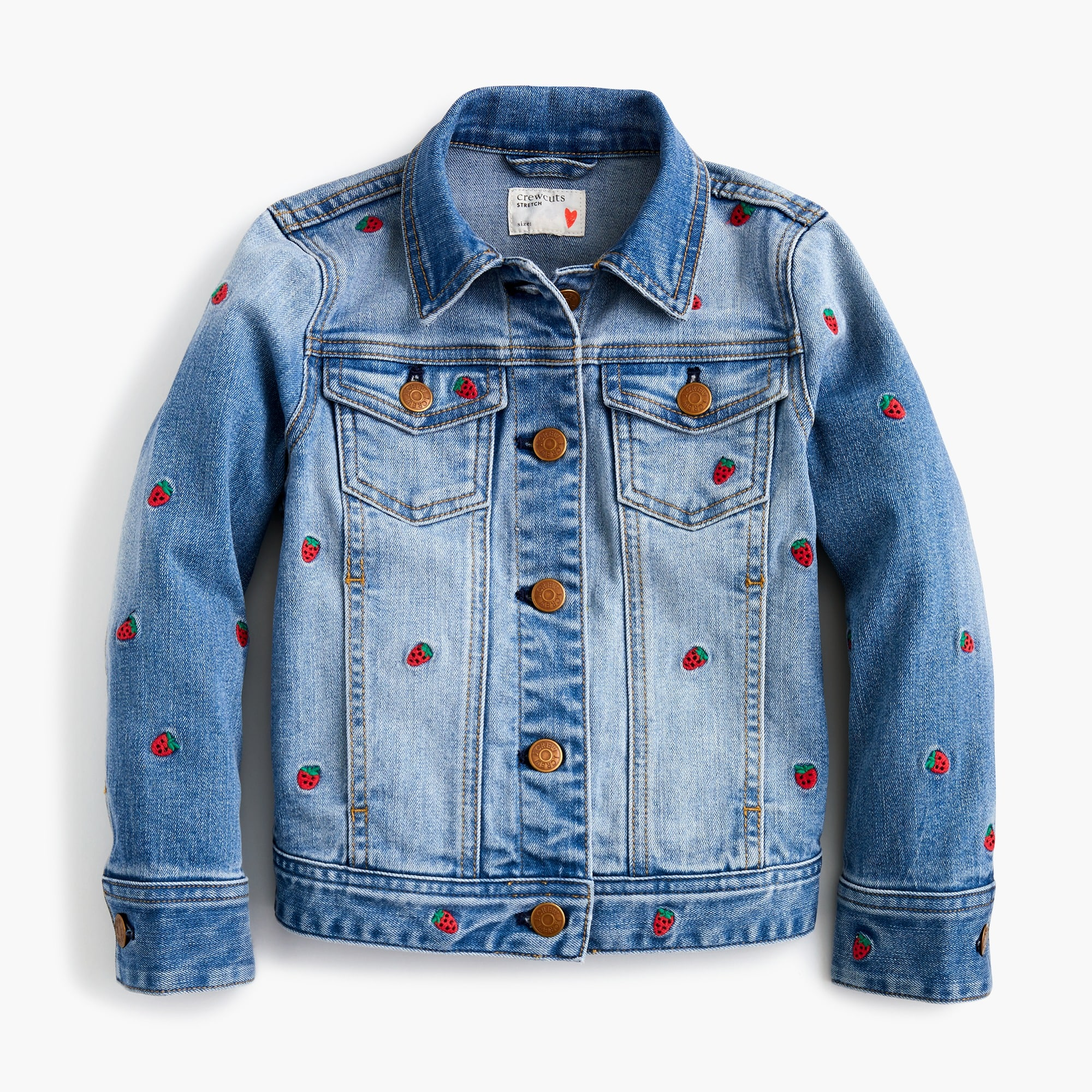 Girls' Madewell X crewcuts strawberry embroidered jean jacket
