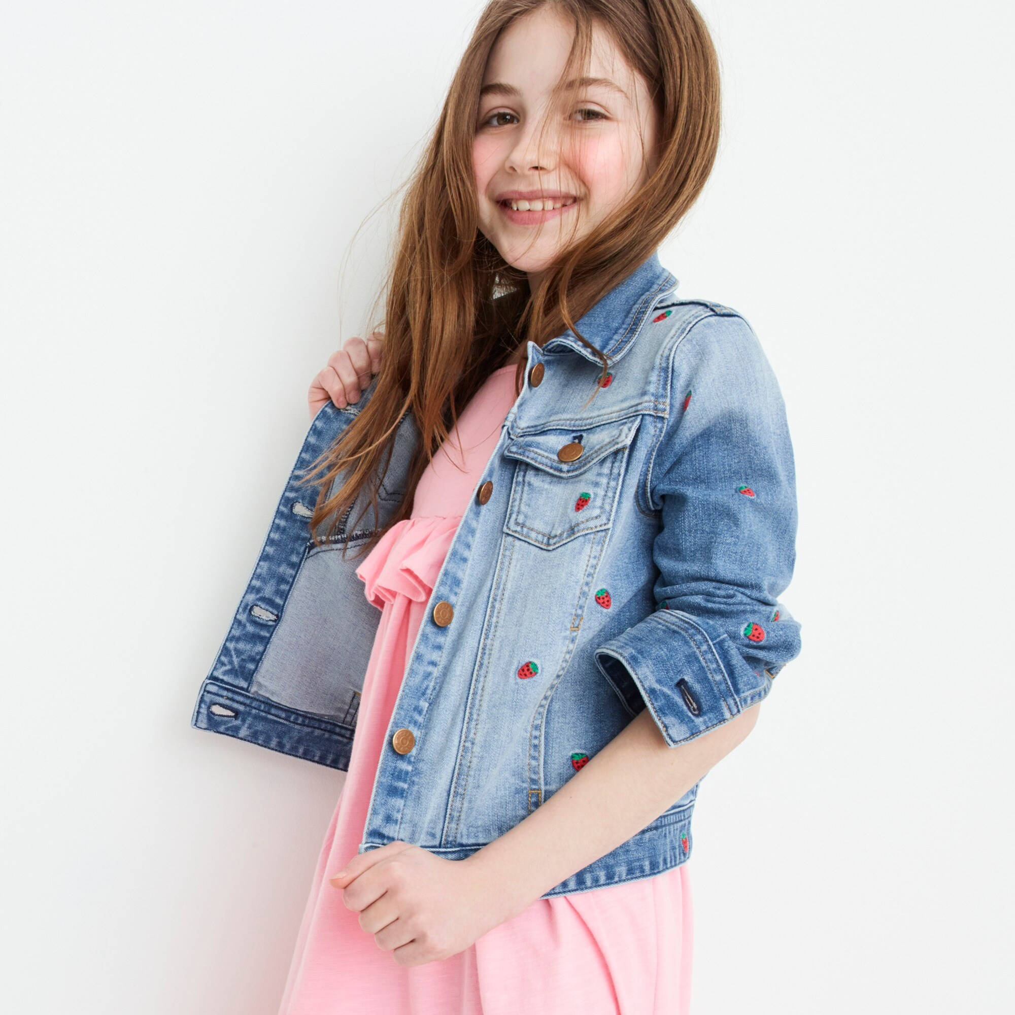 Girls' Madewell X crewcuts strawberry embroidered jean jacket girl denim c