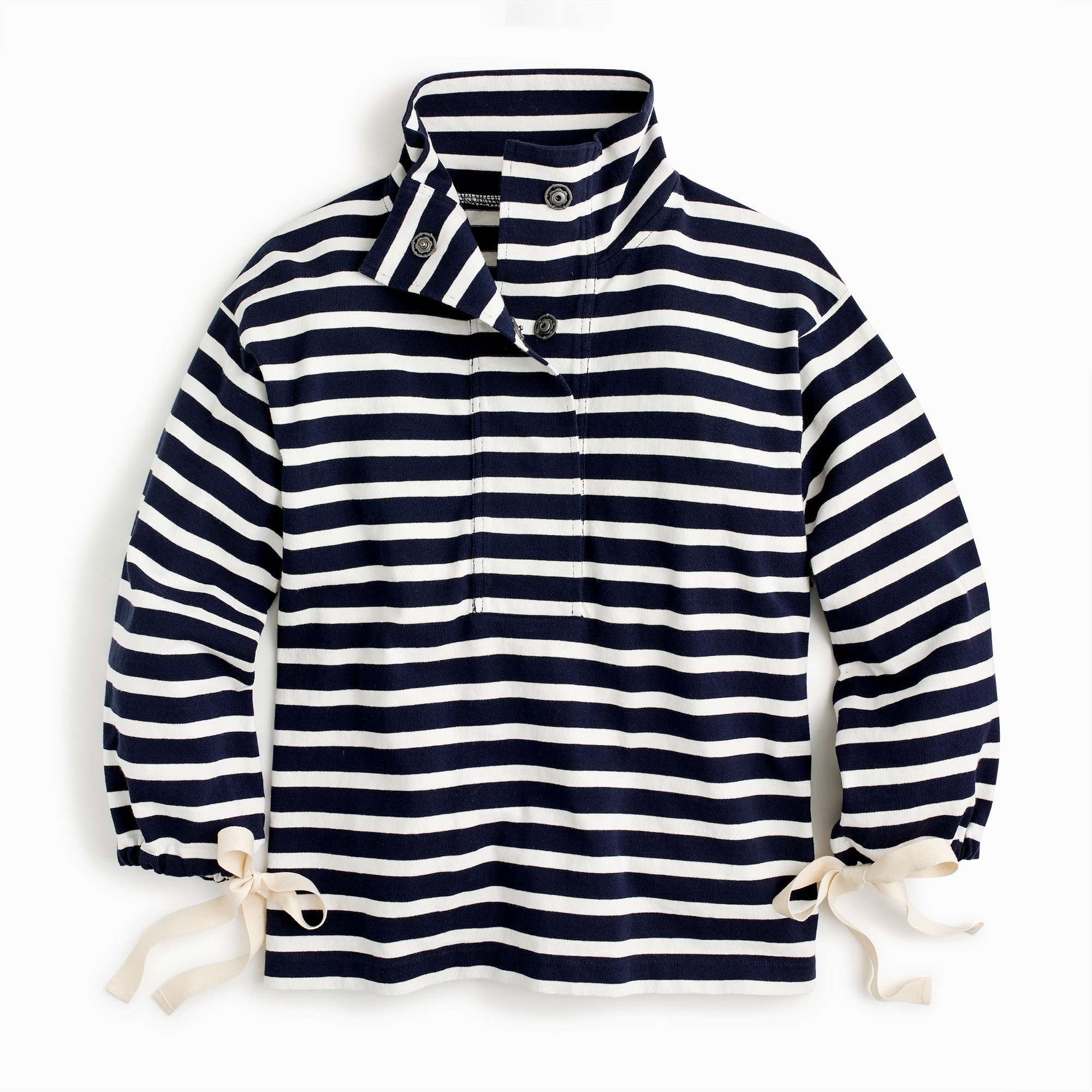 Image 1 for Striped snap-neck sweatshirt