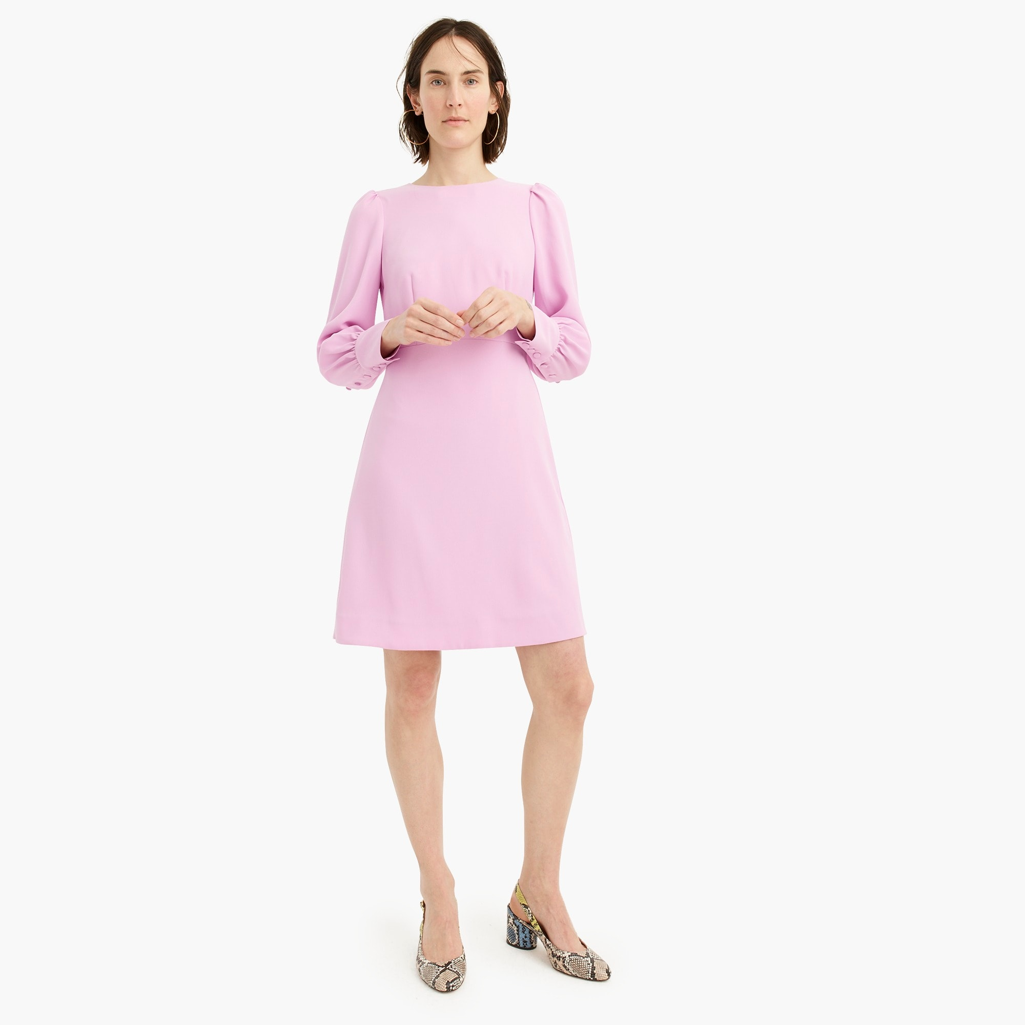 womens Long-sleeve dress in everyday crepe