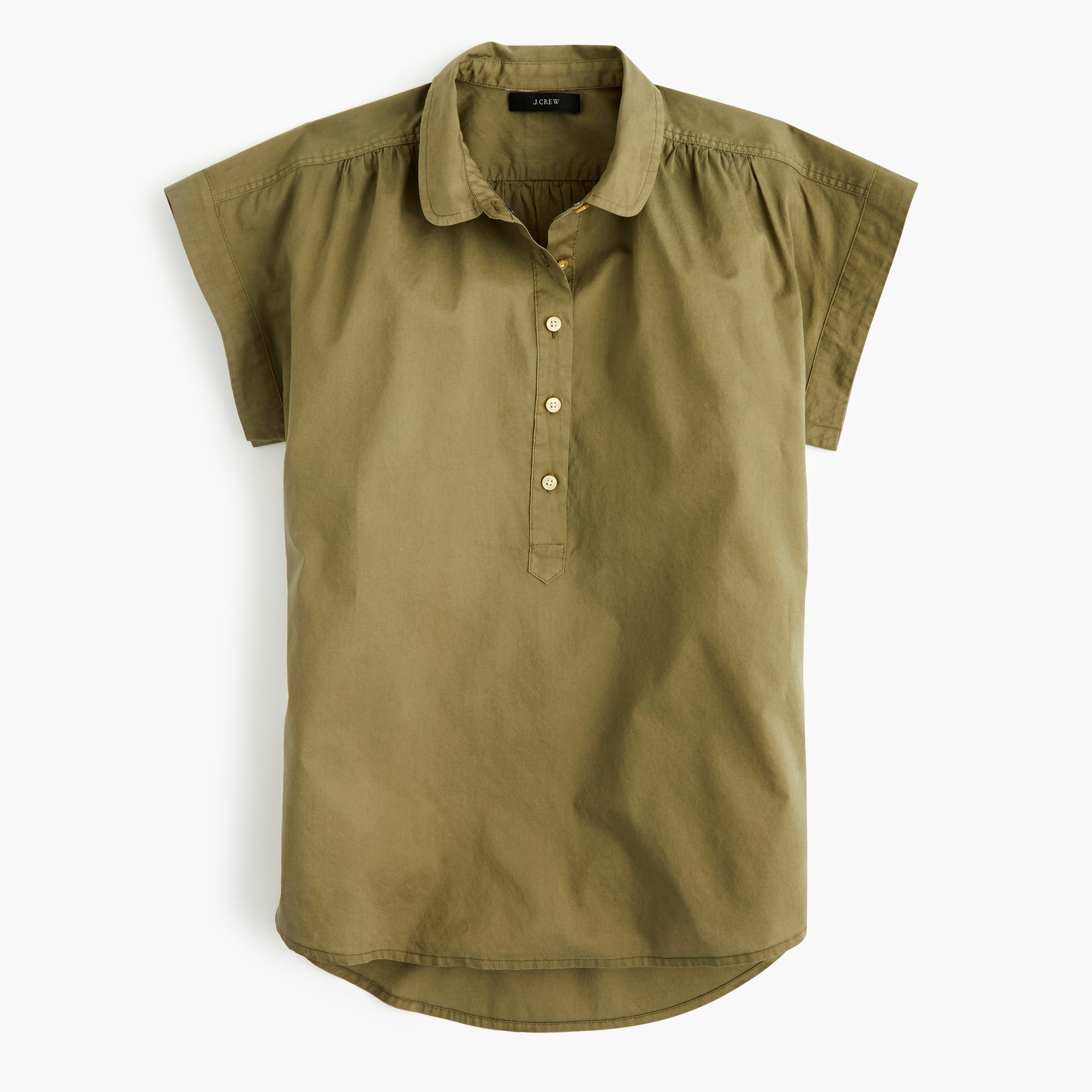 Image 1 for Tall collared popover shirt in garment-dyed cotton poplin
