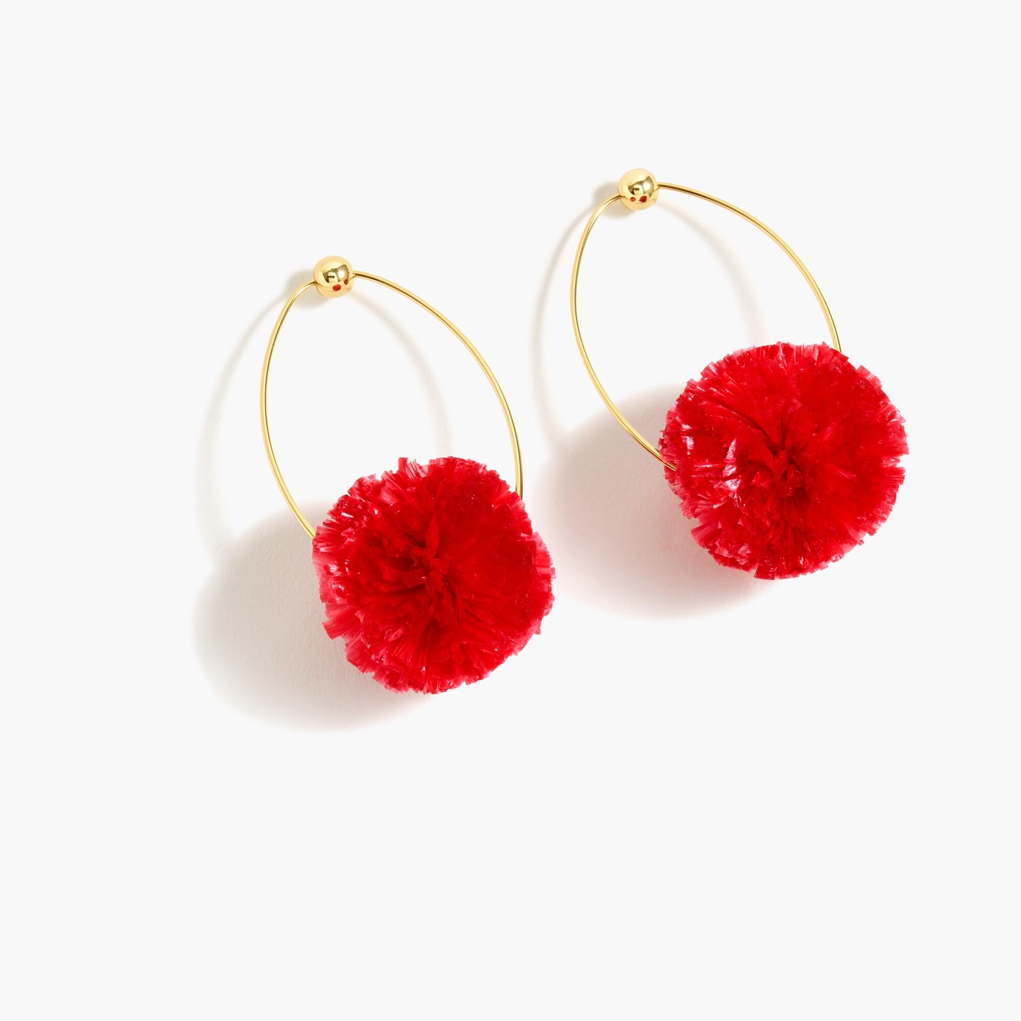 women's raffia pom-pom earrings - women's earrings