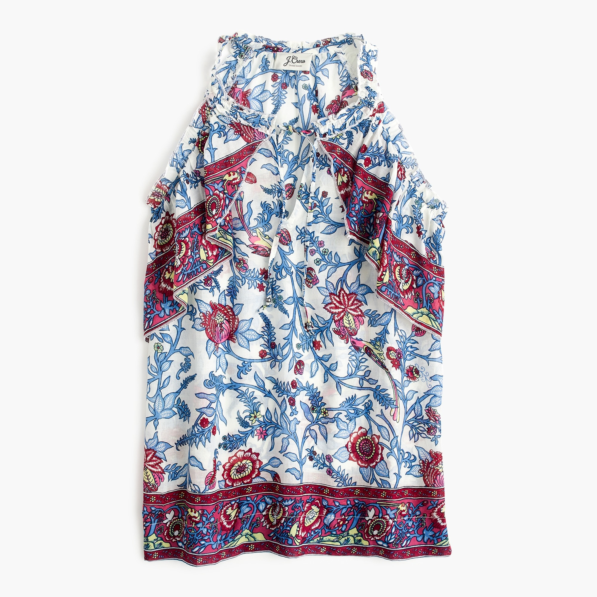 Image 2 for Tall Point Sur ruffle block print top
