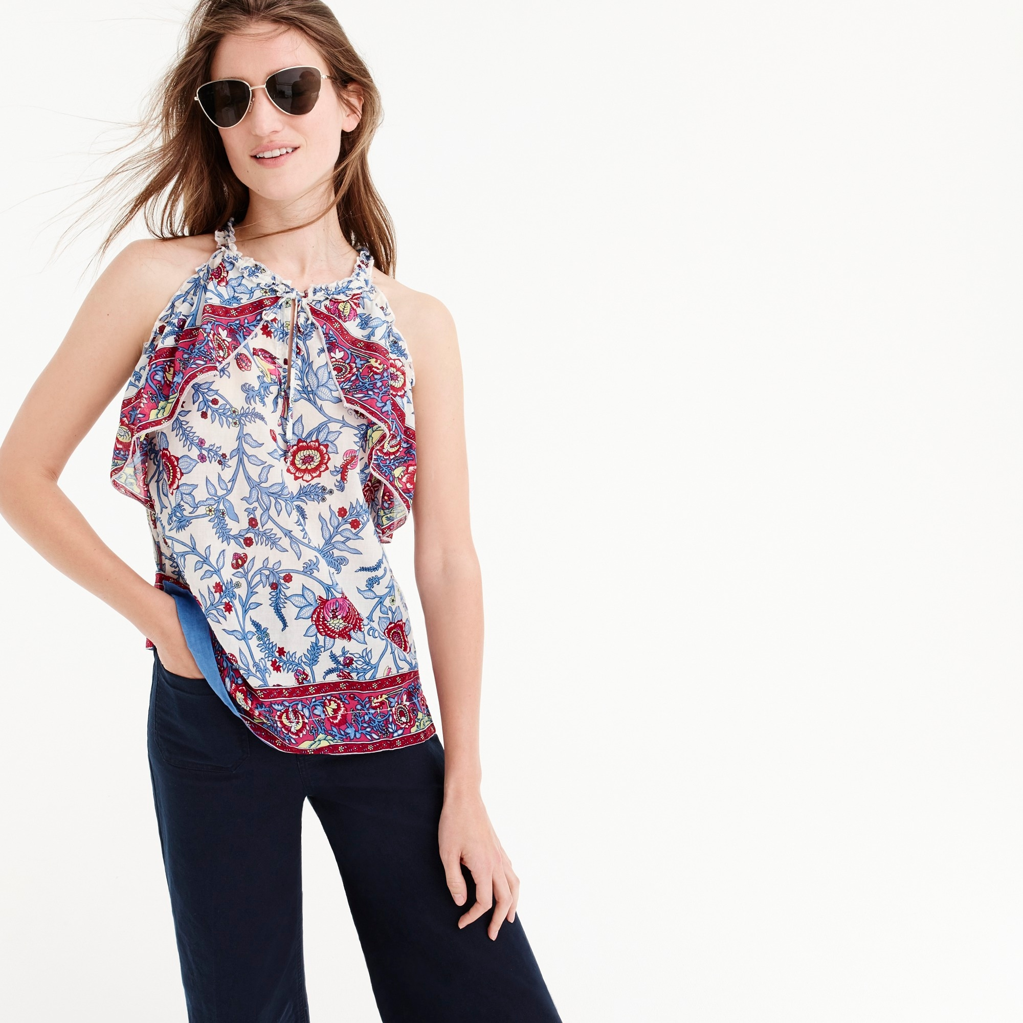 Image 3 for Tall Point Sur ruffle block print top