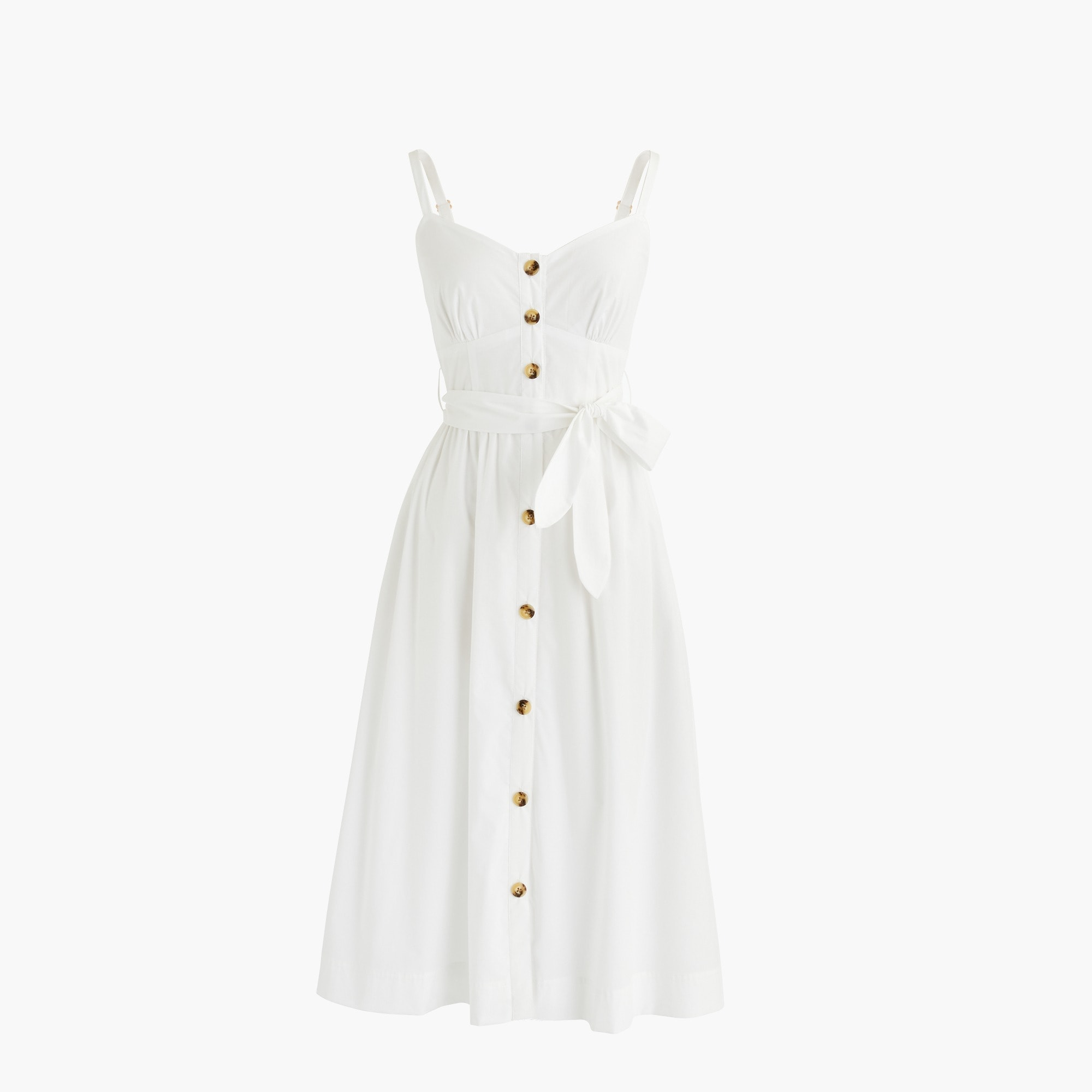 Tall classic button-front sundress in cotton poplin