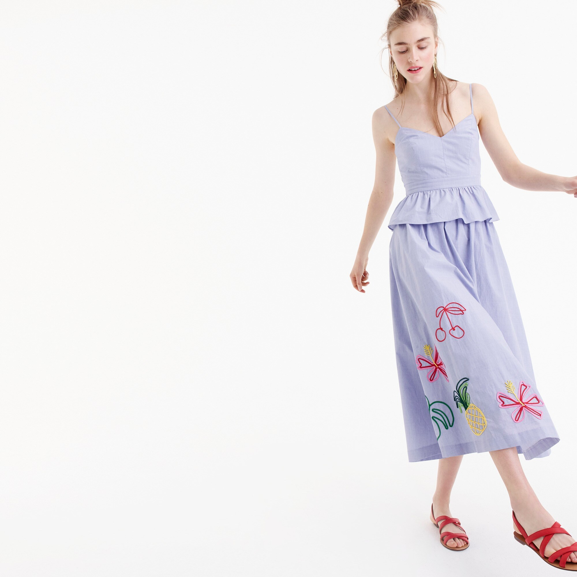 Embroidered tropical skirt in cotton oxford women new arrivals c