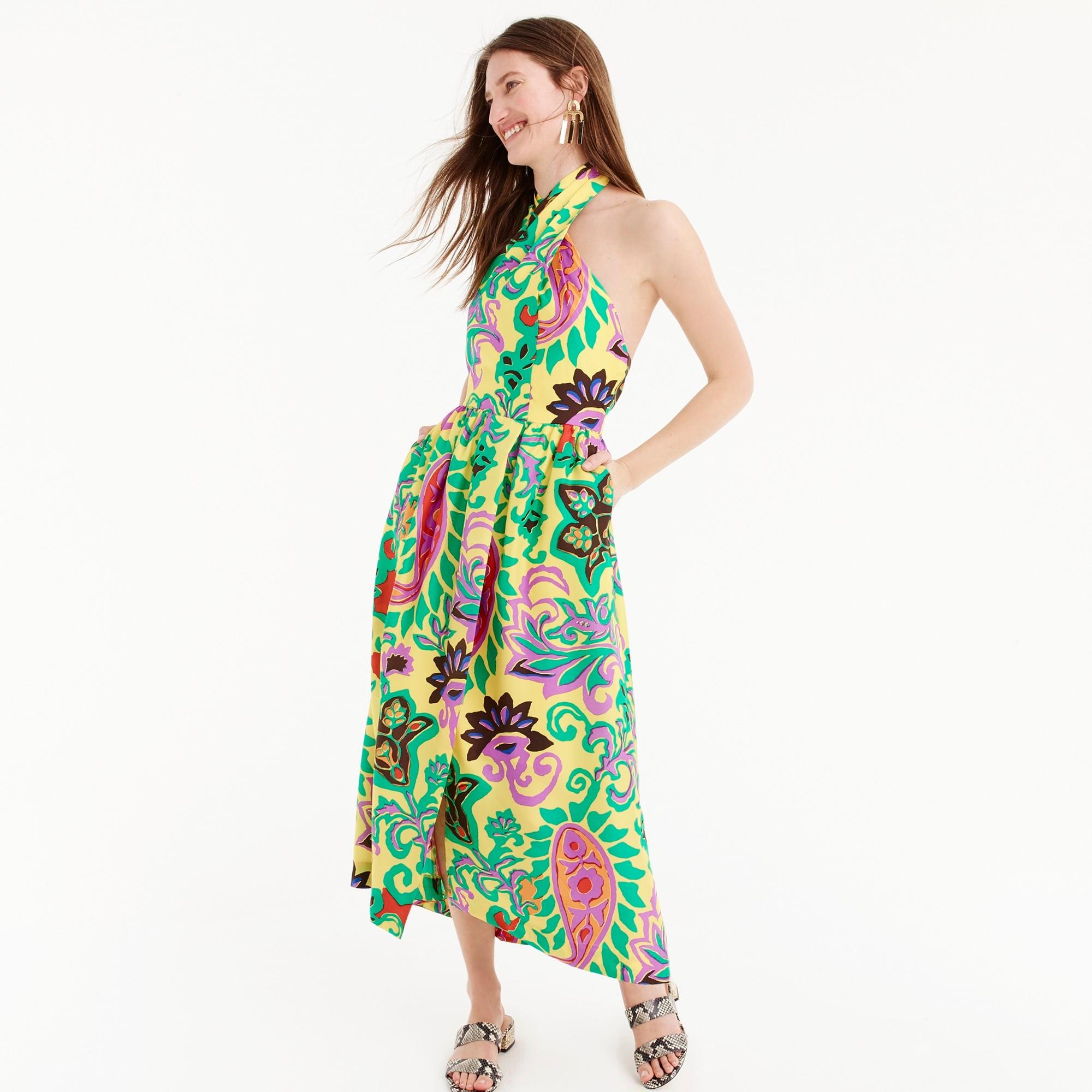 women's silk maxi sarong dress in paisley - women's dresses