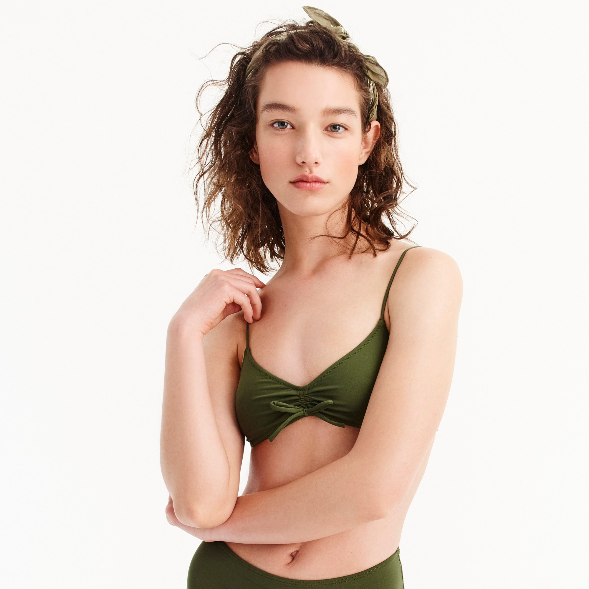 women's j.crew playa laguna ruched bikini top - women's swimwear